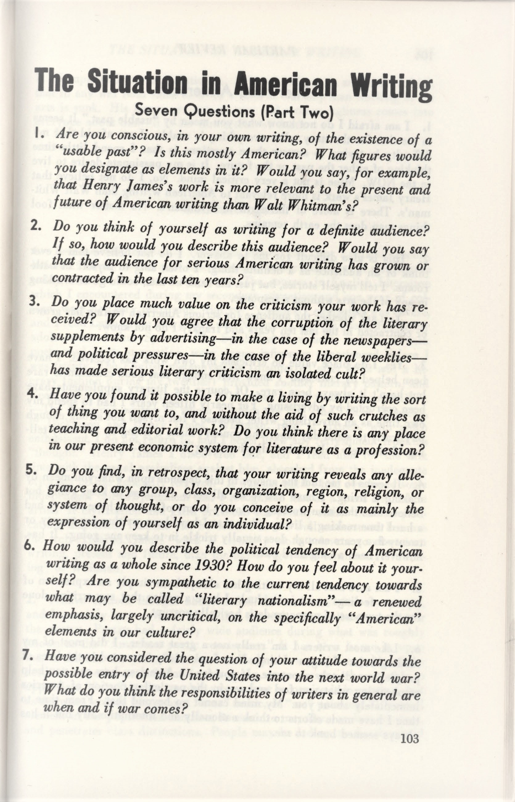 """The Situation in American Writing"" questions, Partisan Review 6, no. 5 (1939)."