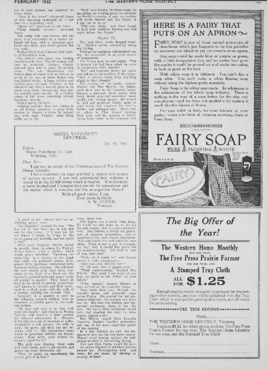 Advertisement, The Western Home Monthly, February 1922, 15.