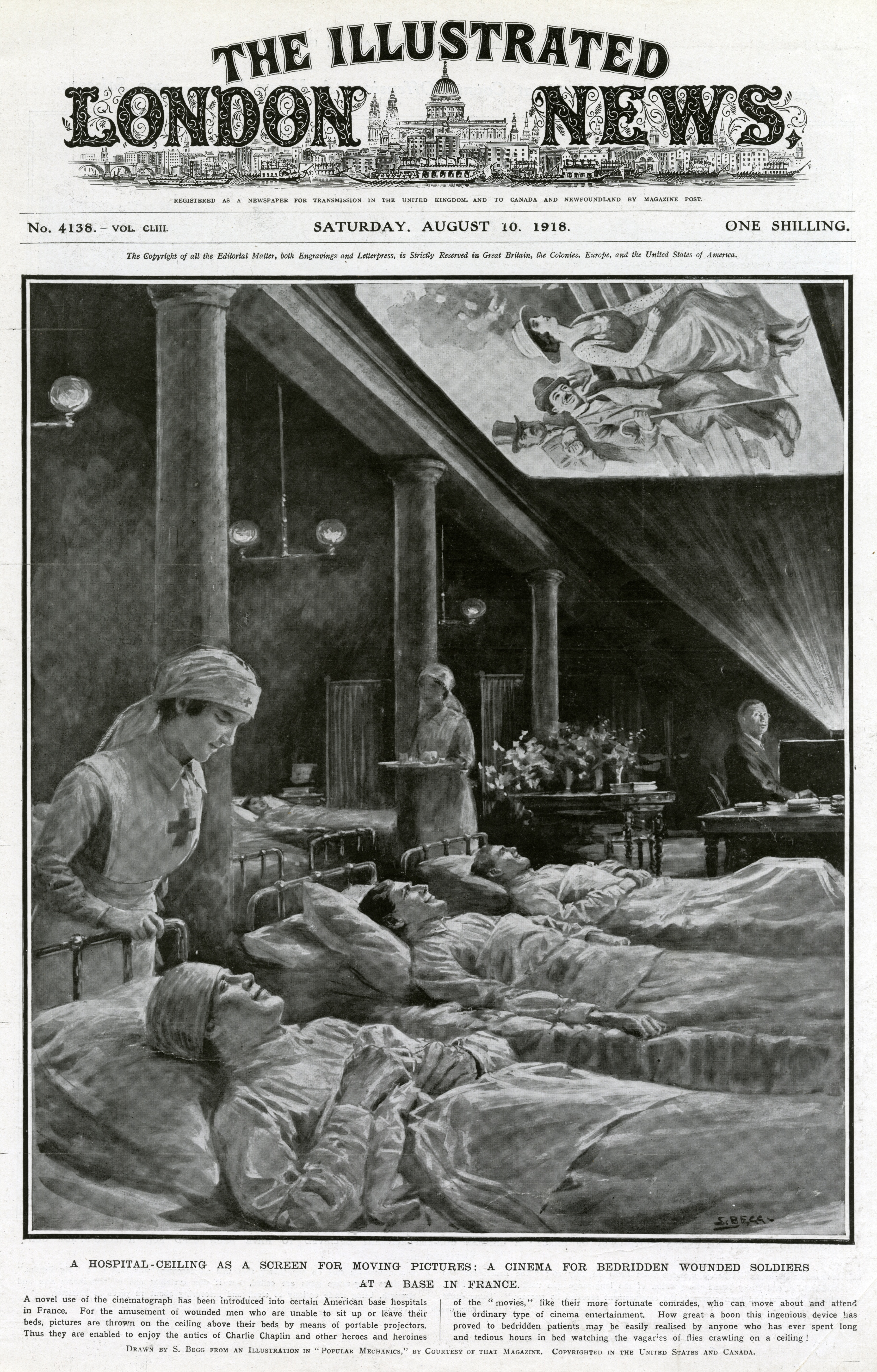 """A hospital ceiling as a screen for moving pictures,"" The Illustrated London News, August 10, 1918, front cover."