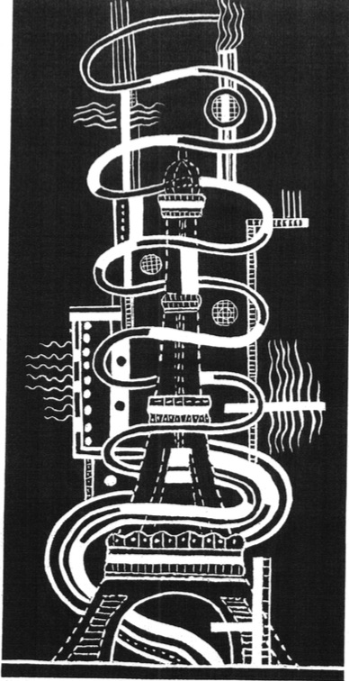 One of Fernand Léger's illustrations for his plan to project films from the Eiffel Tower and from airplanes onto the whitened screen of Paris below.
