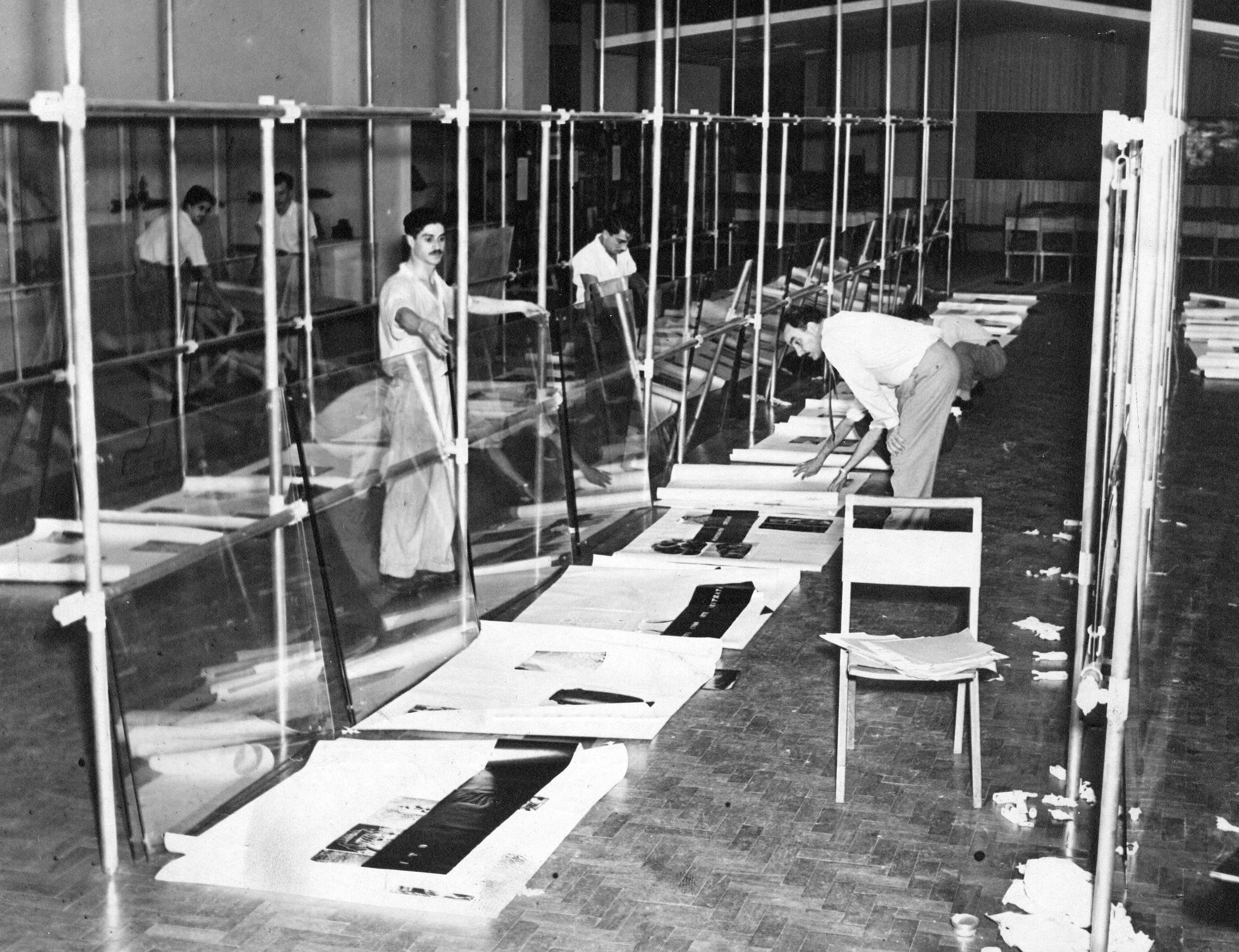 Installation of didactic exhibition, 1947.