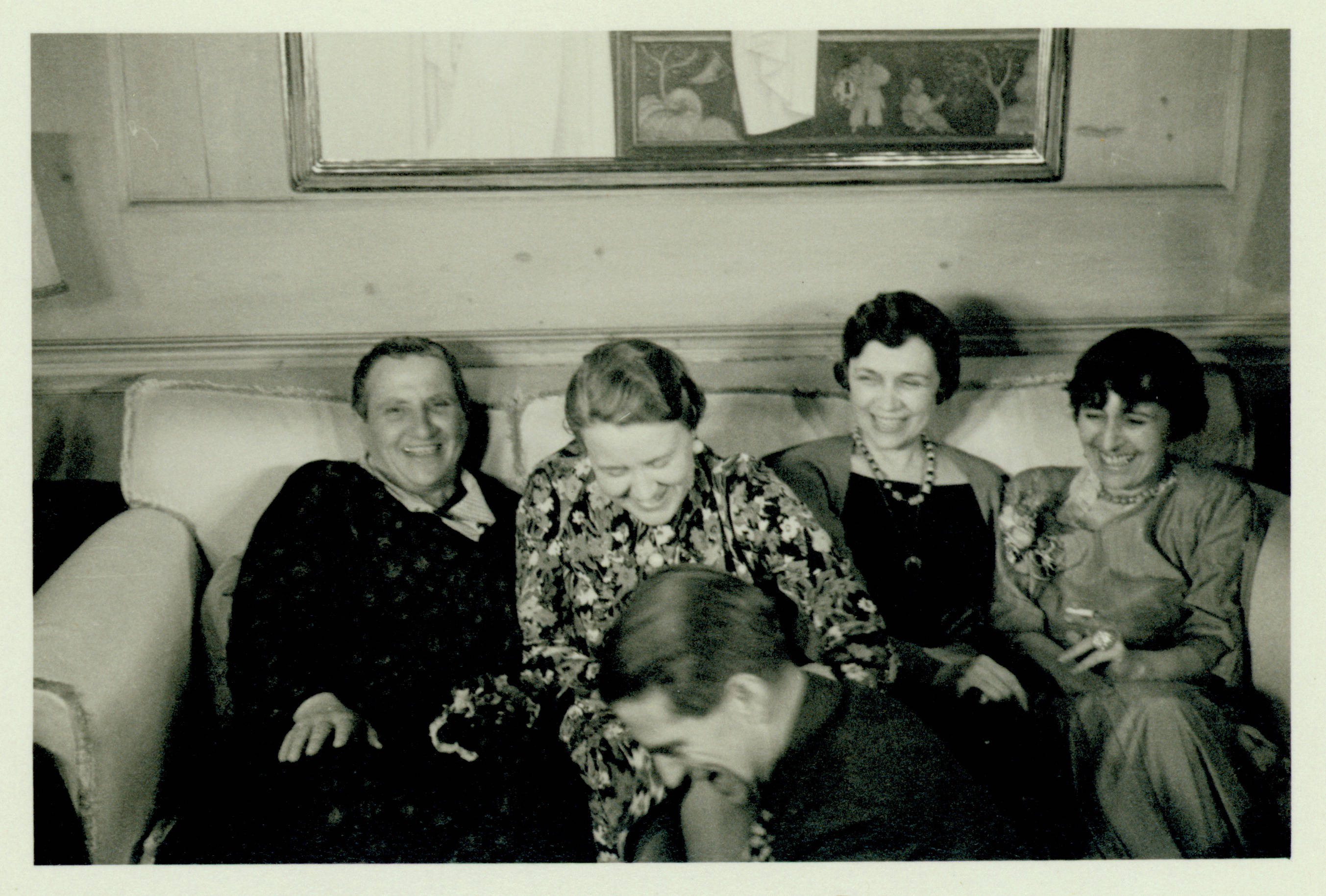 Gertrude Stein, Fanny Butcher, Bobsy Goodspeed and Alice Toklas. A dinner party in the home of Bobsy Goodspeed, 1934. Photographer unknown.