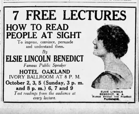 """""""7 Free Lectures: How To Read People At Sight,"""" The San Francisco Examiner, October 1, 1919, 1"""