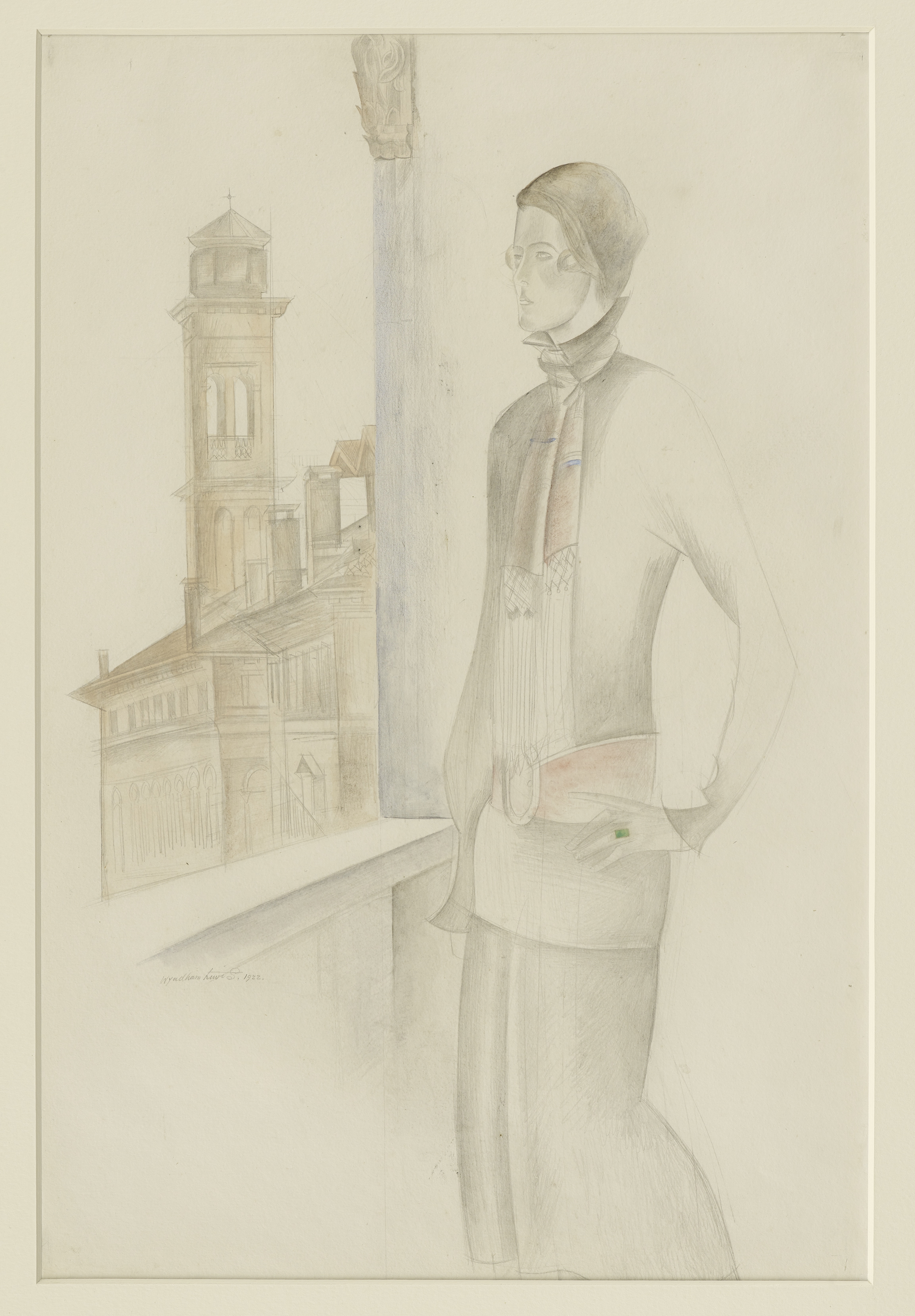 Percy wyndham lewis 1882 1957 nancy cunard venice 1922 pencil and watercolor and pastel on paper 51 2 x 33 cm courtesy british council collection