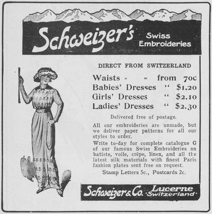Schweizer's Advertisement, Western Home Monthly, May 1914, 16.