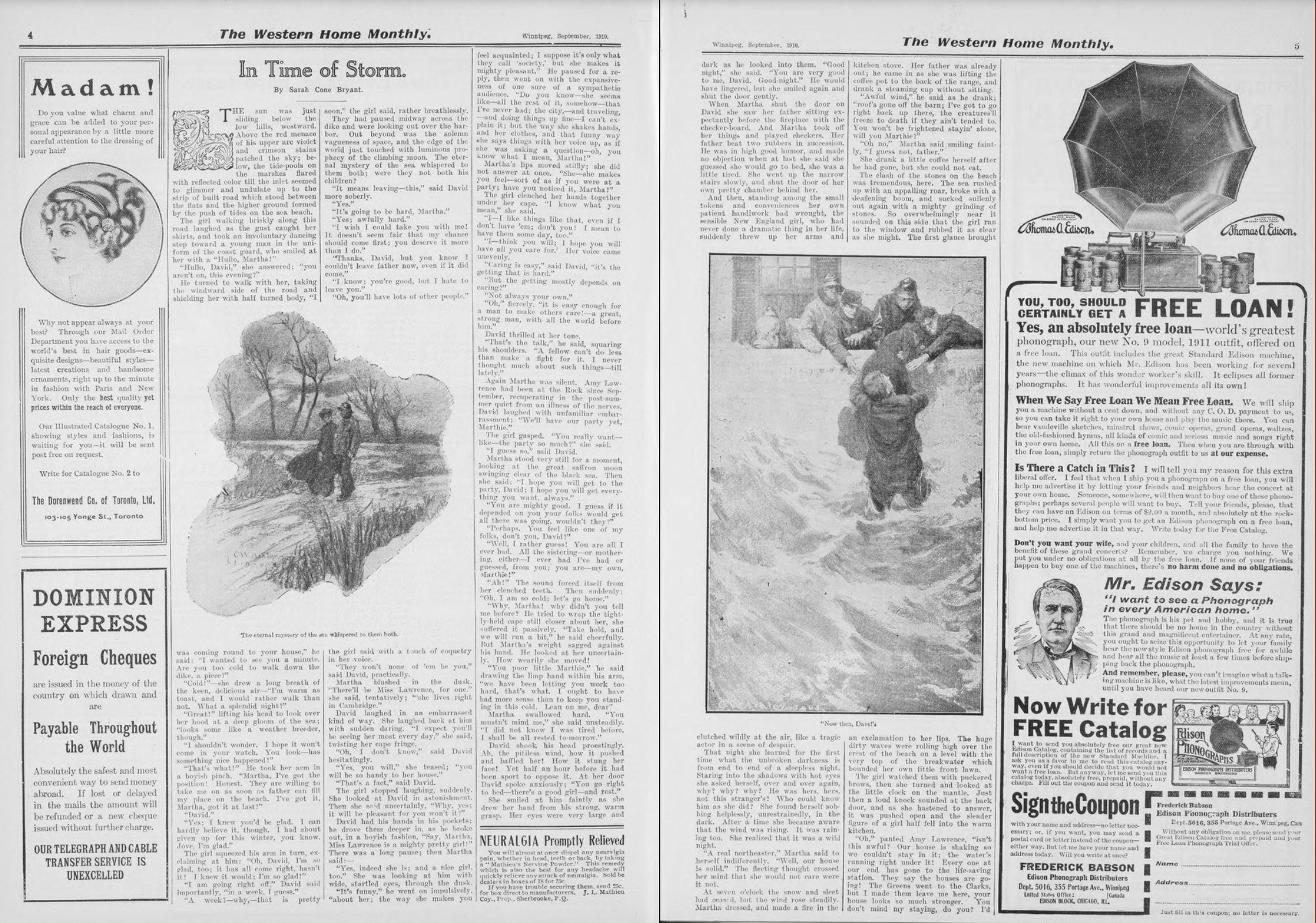 "First spread, ""In Time of Storm,"" Western Home Monthly, September 1910, 4–5."
