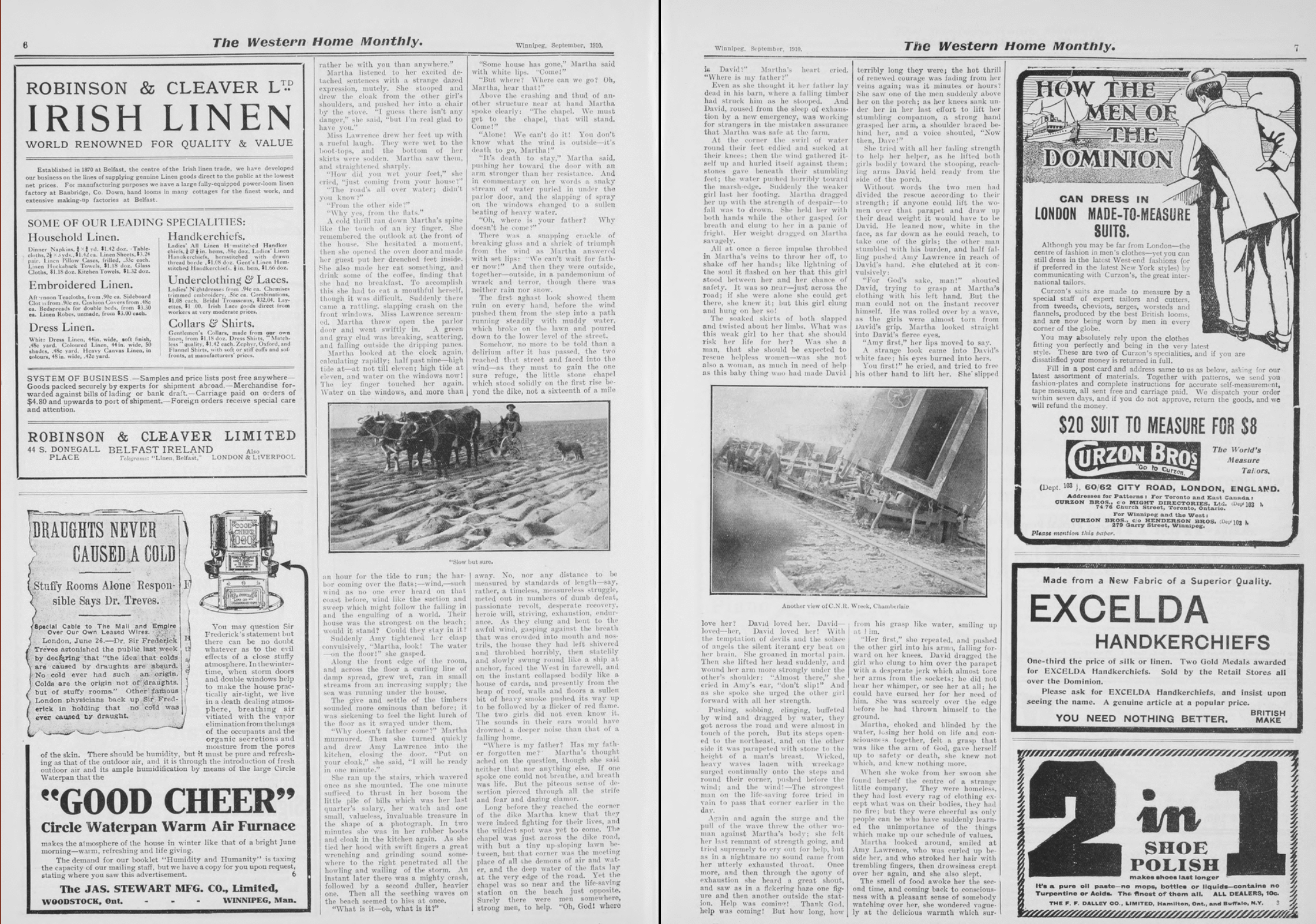 "Second spread, ""In Time of Storm,"" Western Home Monthly, September 1910, 6–7."