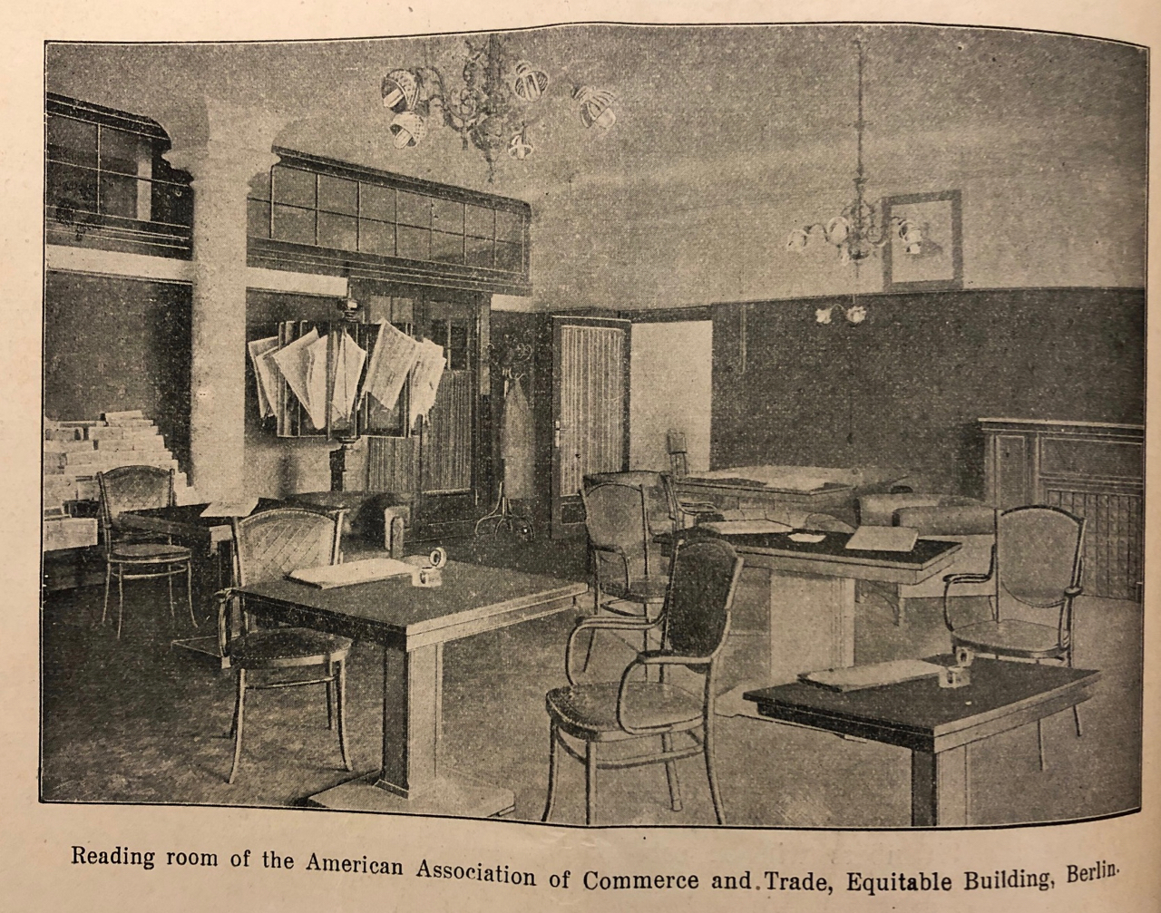 """""""Reading room of the American Association of Commerce and Trade,"""" Transatlantic Trade, February 1920, 30."""