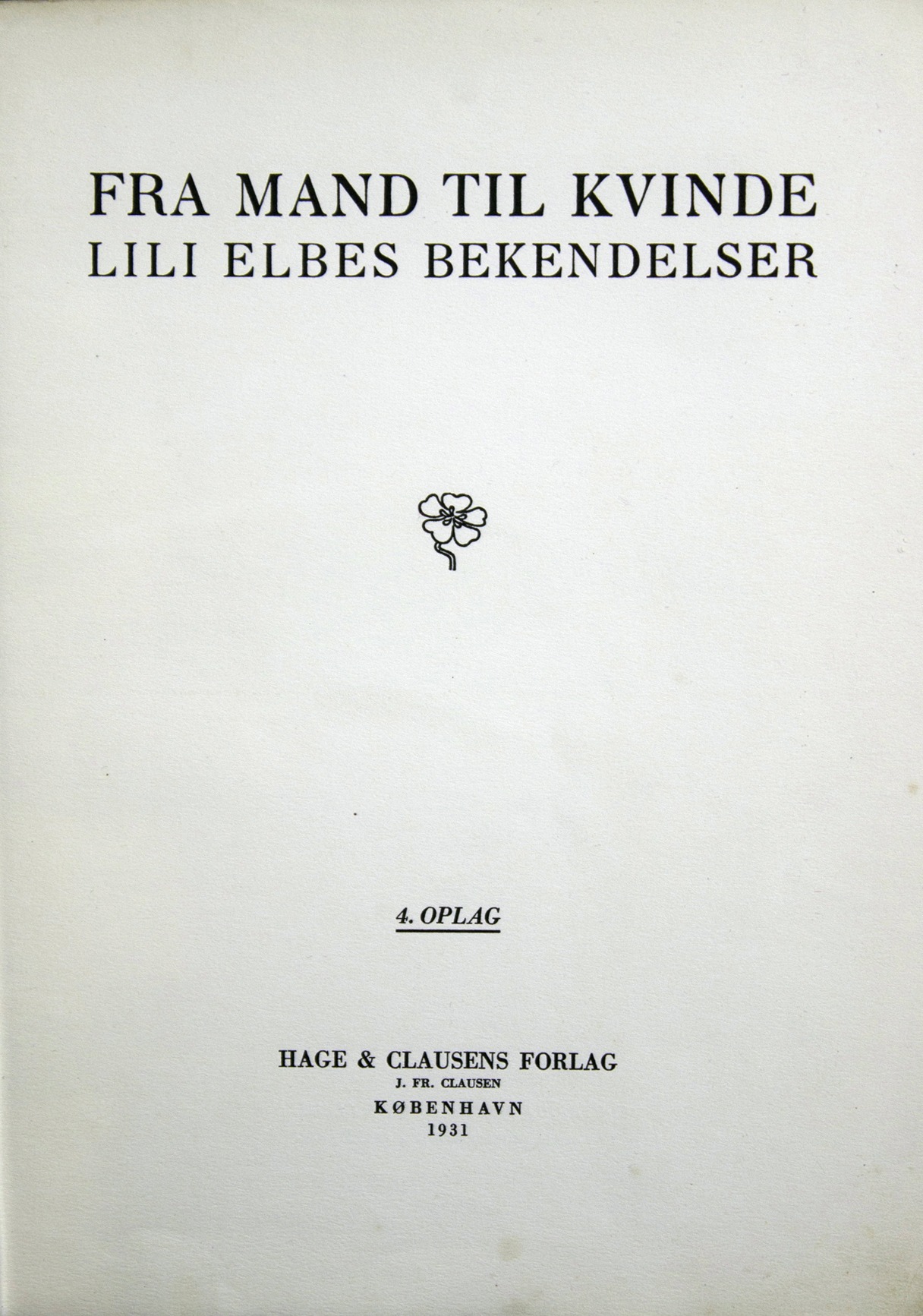 Title page from Fra Mand til Kvinde, omitting any identifying information about the author.