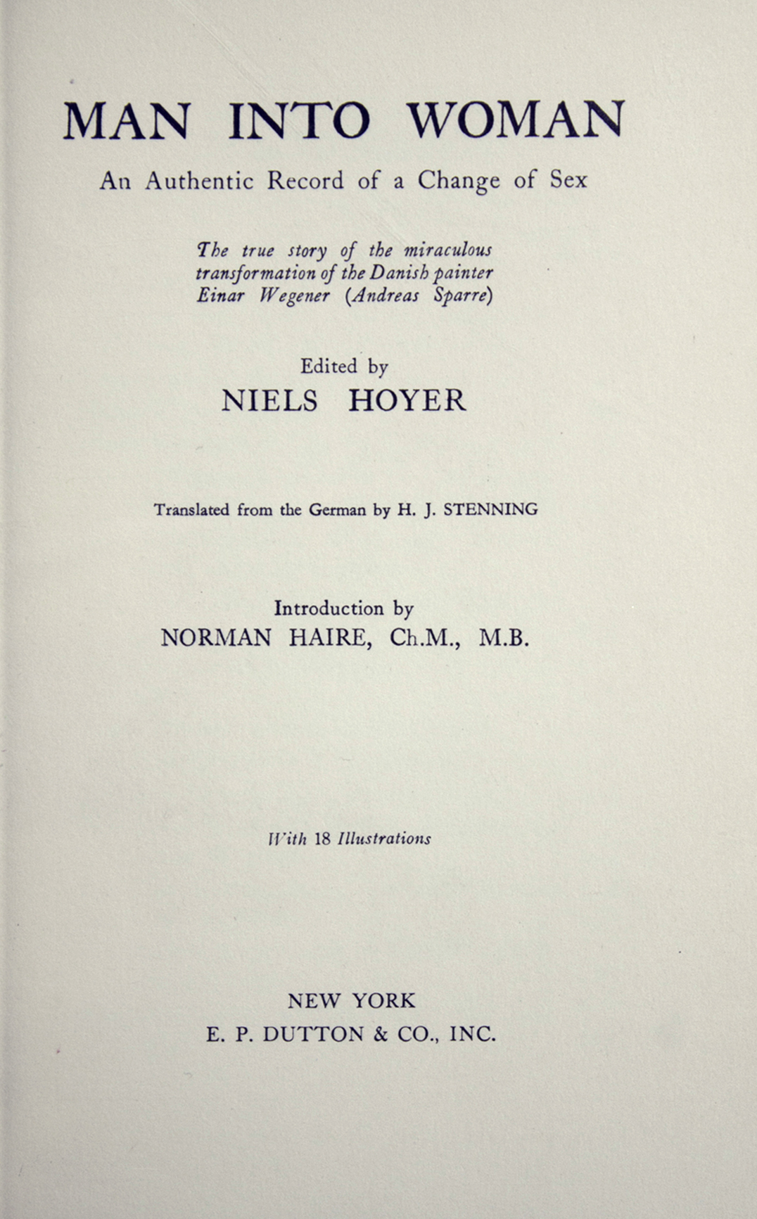 Title page from Man Into Woman, which identifies only the name of the editor.