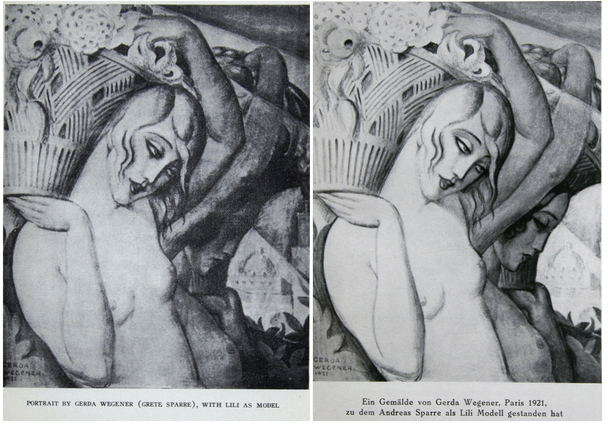 "The American edition (left) identifies the model as Lili, whereas the German edition (right) identifies the model as ""Andreas Sparre as Lili."""