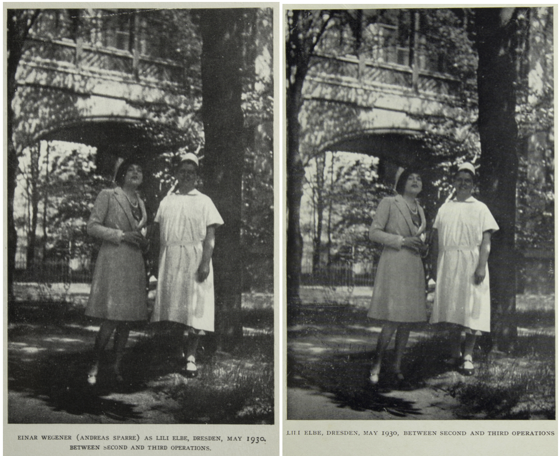 "The American edition (left) identifies the woman in the photograph as ""Einar Wegener (Andreas Sparre) as Lili (Elbe)"" while the caption for the same photo in the British edition (right) reads simply ""Lili (Elbe)."""