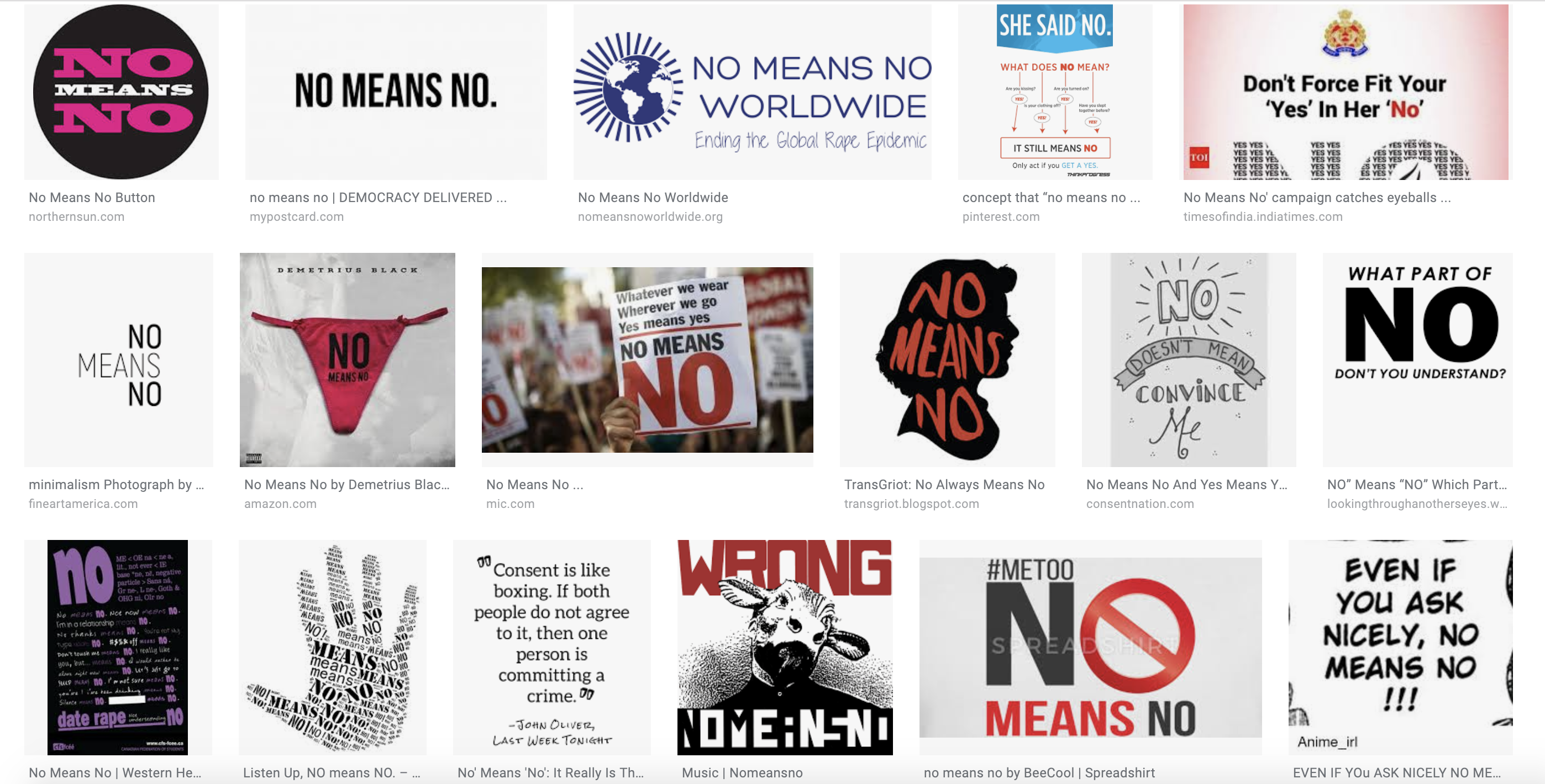 "Screenshot of Google Image search results for the phrase ""No means no."""