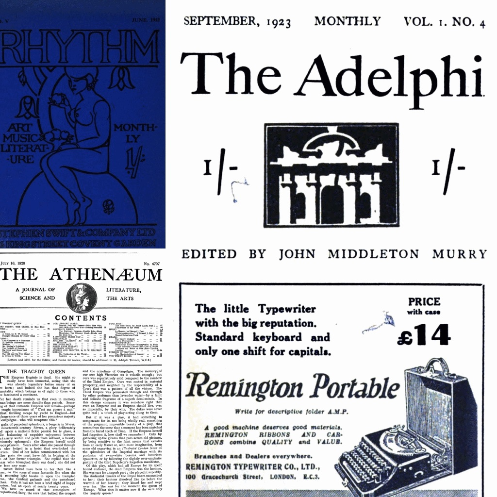 Collage of journal covers: Rhythm (June 1912), The Athenaeum (July 1920), and The Adelphi (September 1923).