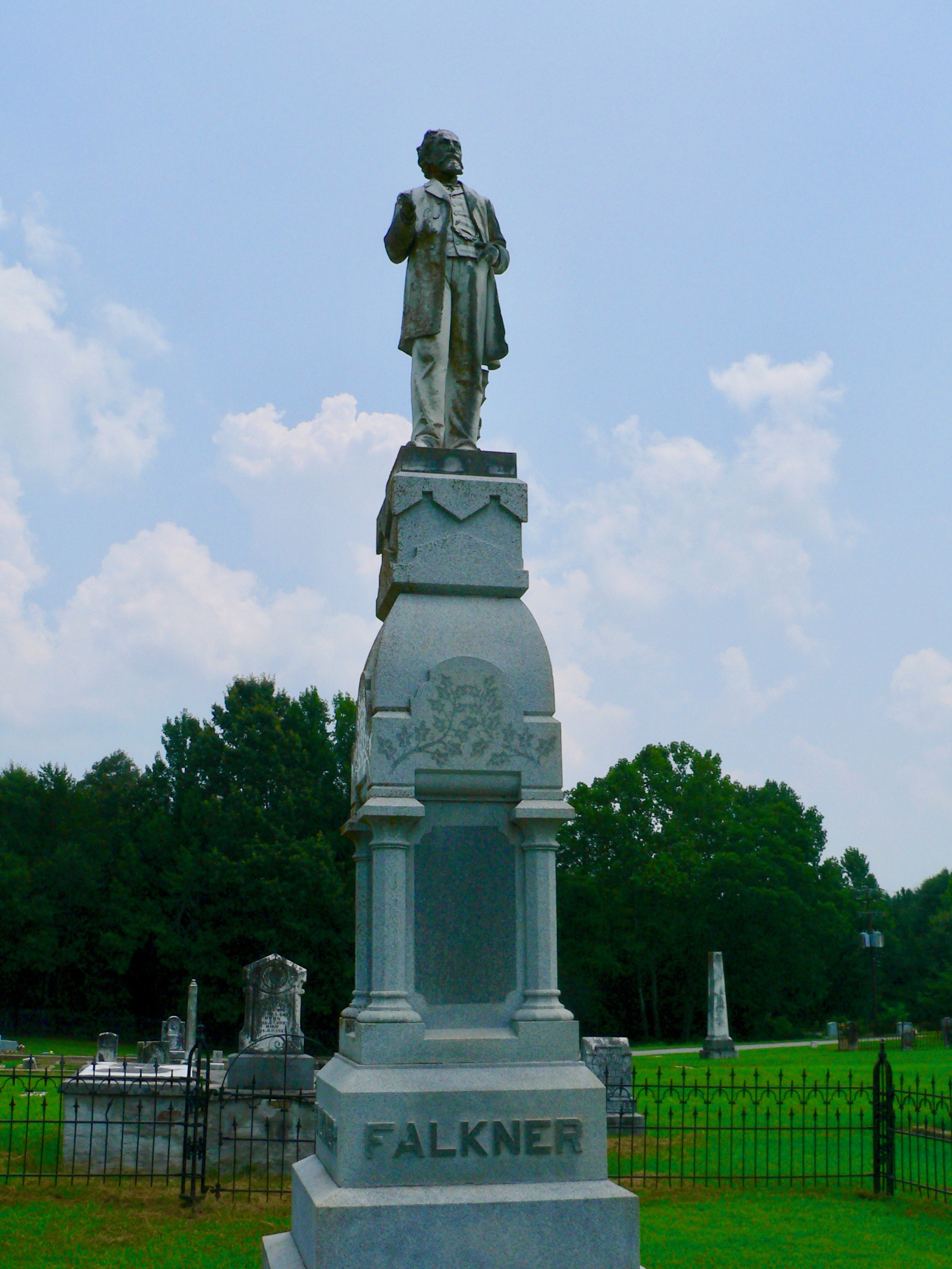 Statue of Faulkner's great-grandfather, Colonel William Clark Falkner, in Ripley, Mississippi.