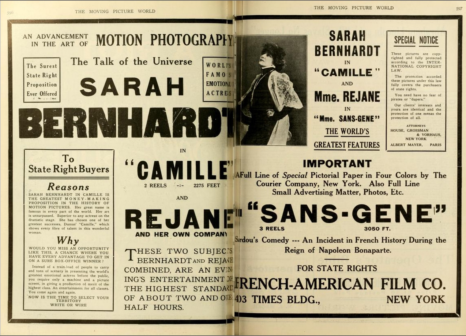 Double page advertisement, The Moving Picture World, February 17, 1912, 596–97.