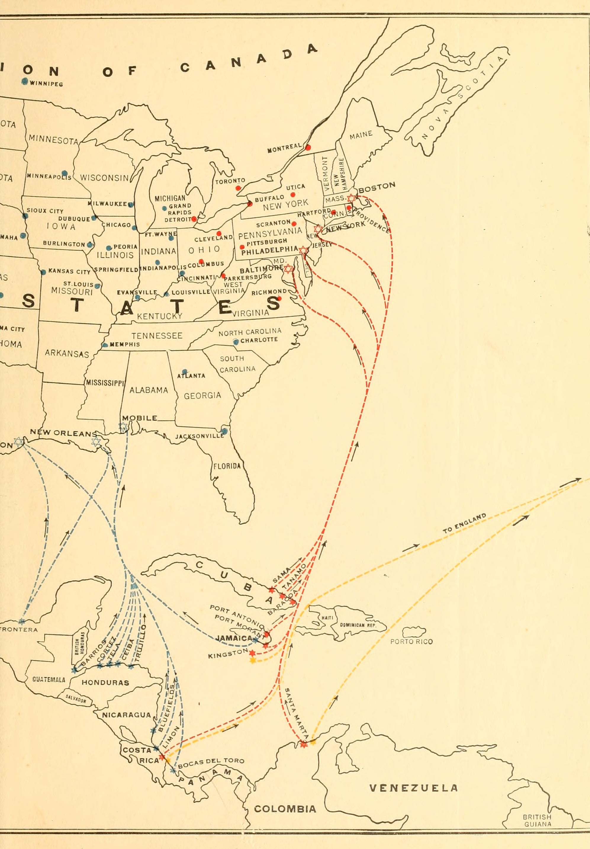 """Banana Shipping Routes,"" from the back cover of United Fruit Company's The Story of the Banana (Boston, MA: United Fruit Company, 1921)."