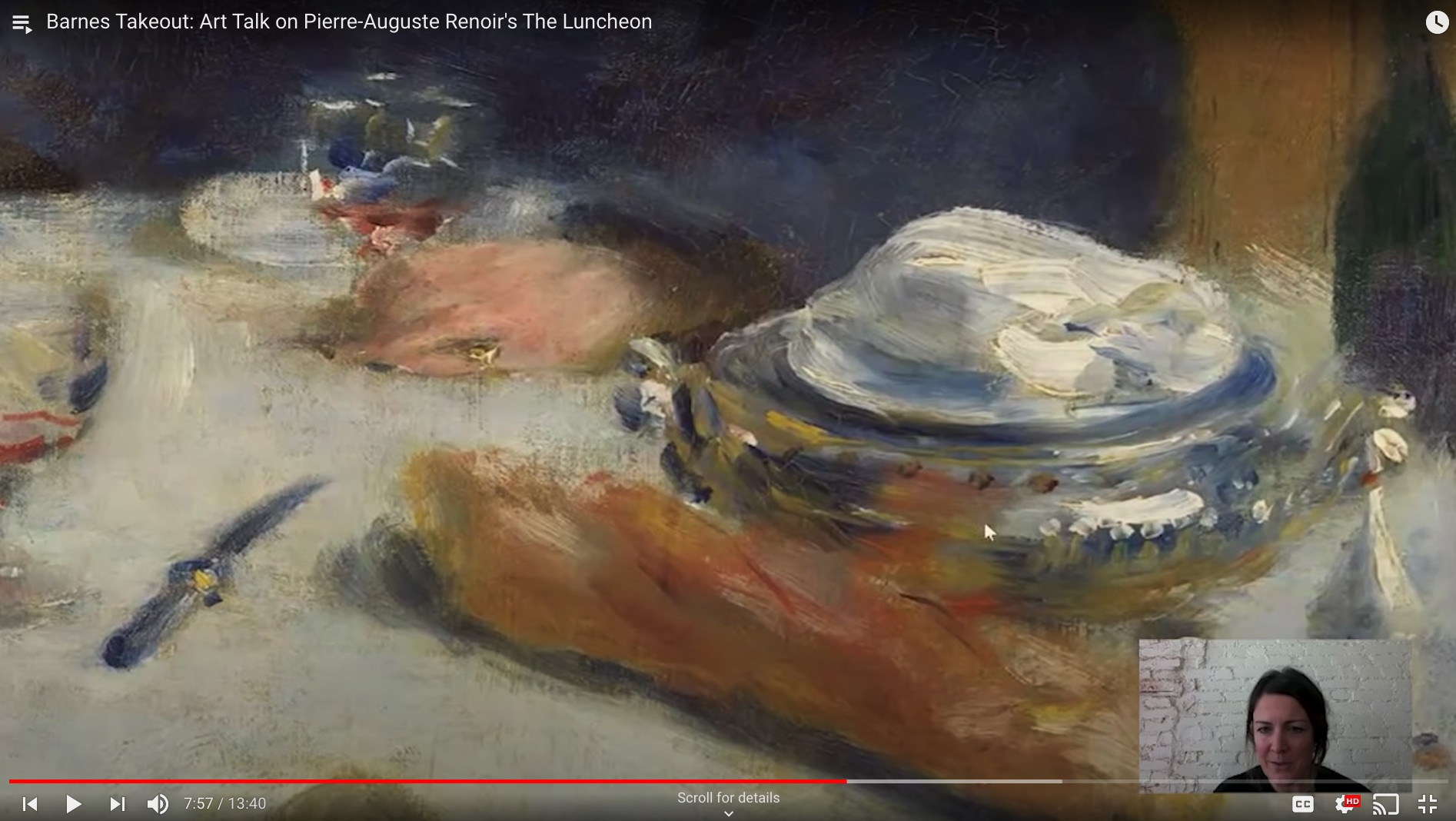 Screenshot of YouTube video of Martha Lucy, deputy director for research, interpretation, and education at the Barnes Foundation.