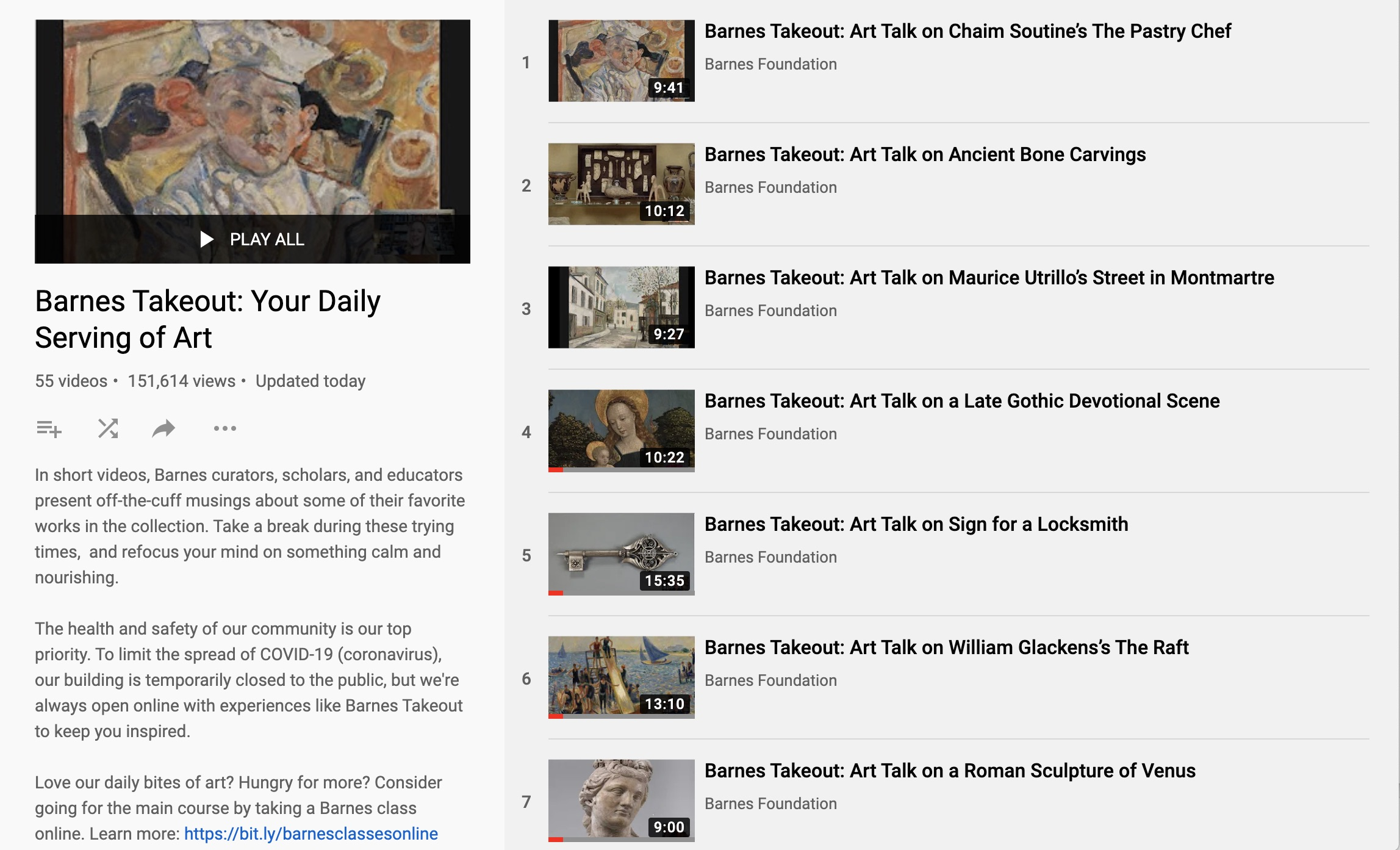 "Screenshot of ""Barnes Takeout: Your Daily Serving of Art"" YouTube Feed."