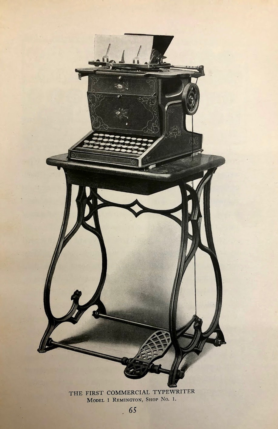 Illustration of the Remington No. 1 from The Story of the Typewriter, 1873–1923