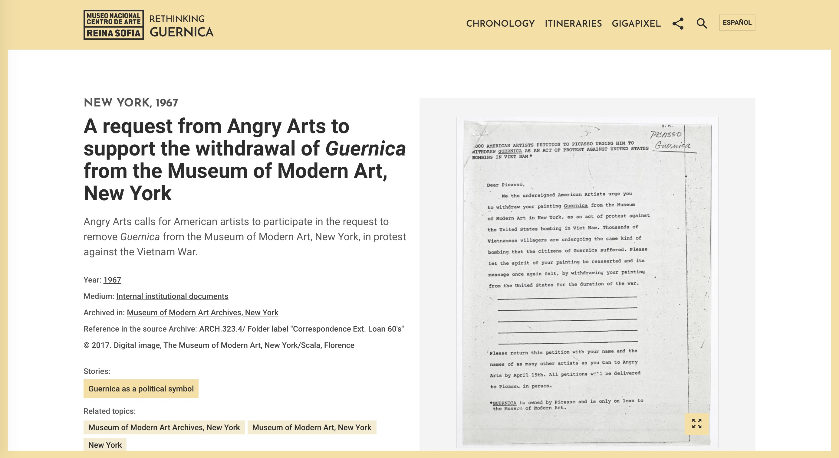 "Screenshot of the ""Angry Arts"" protest petition"