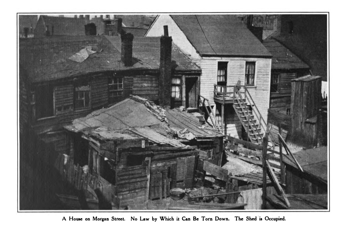 House on Morgan Street, seen from alley, c. 1908