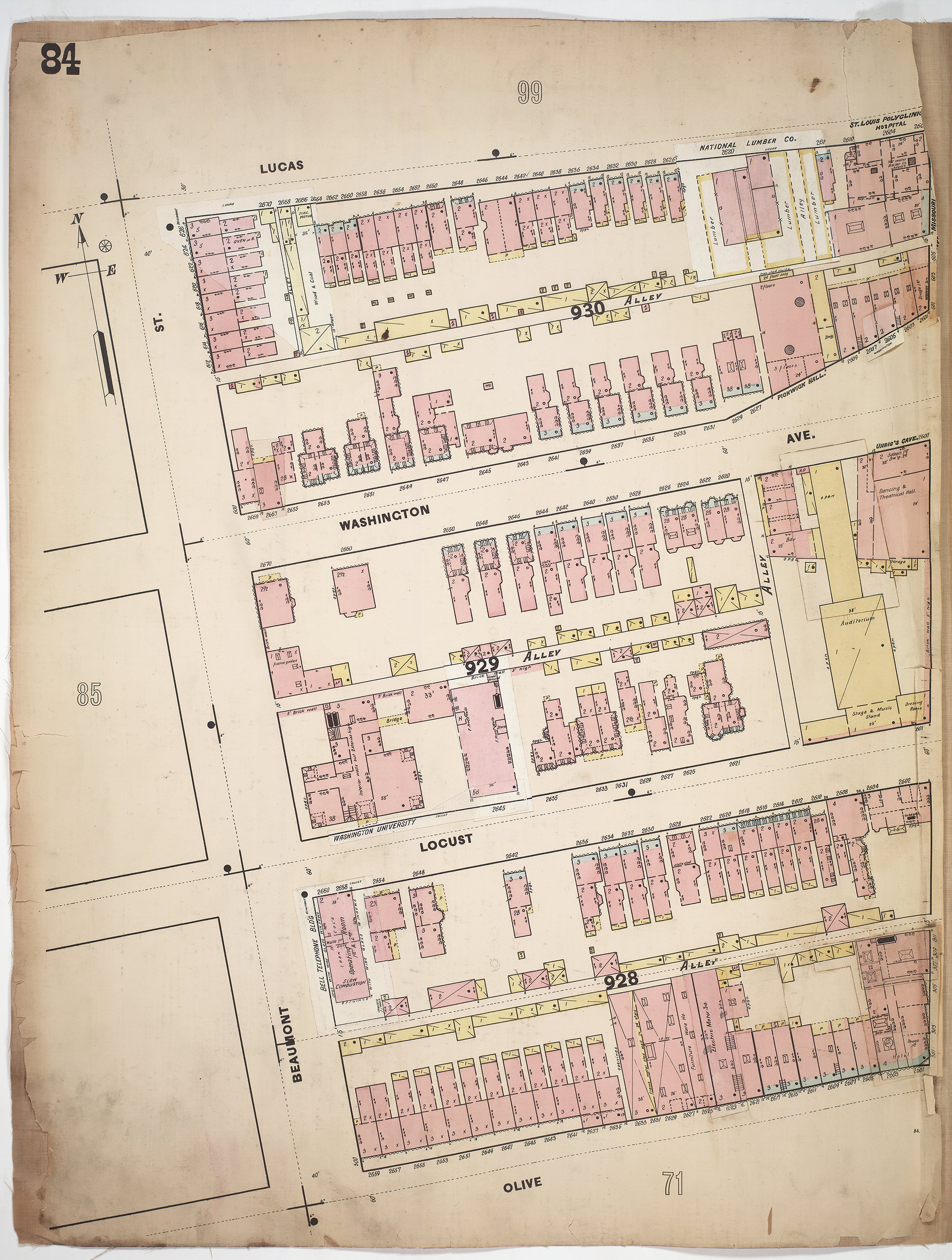 Whipple's Fire Insurance Map of 1897 showing the 2600 blocks of Washington and Locust Streets.