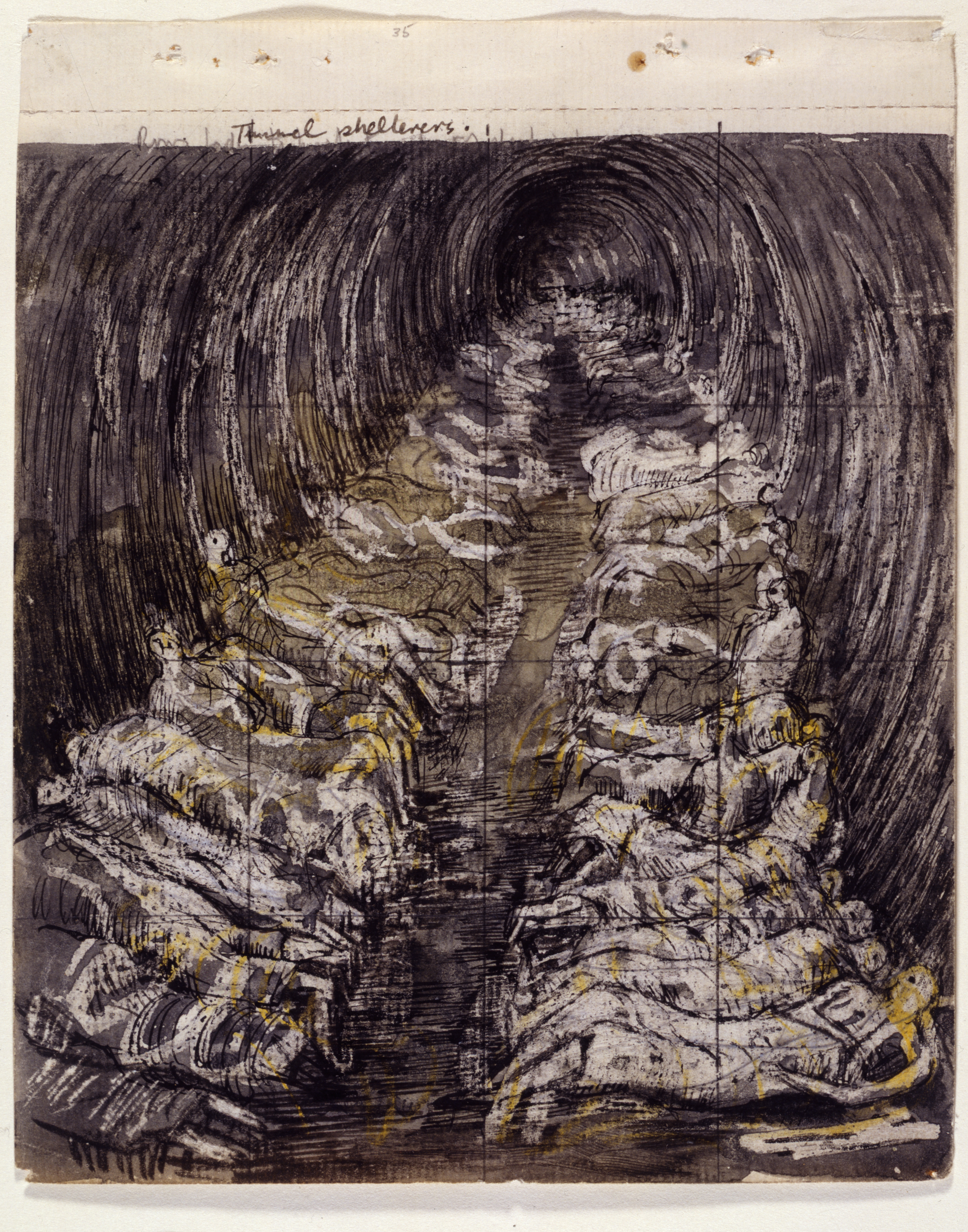 """Henry Moore, Study for """"Tube Shelter Perspective: The Liverpool Street Extension,"""" 1940–41."""