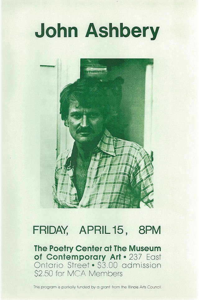 Poster promoting a poetry reading on April 15, 1977 by John Ashbery