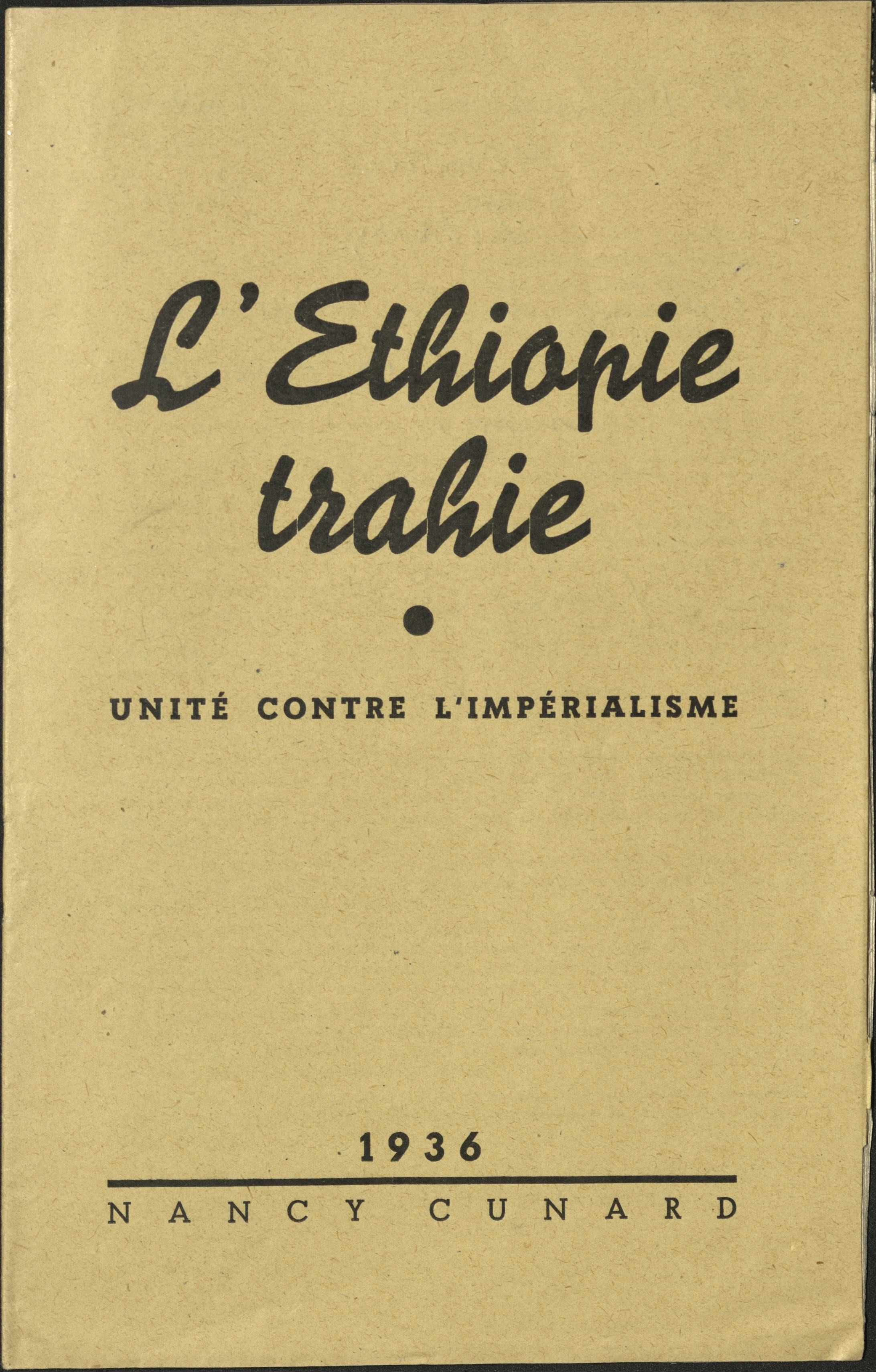 Front cover of Nancy Cunard, L'Ethiopie trahie (1936).