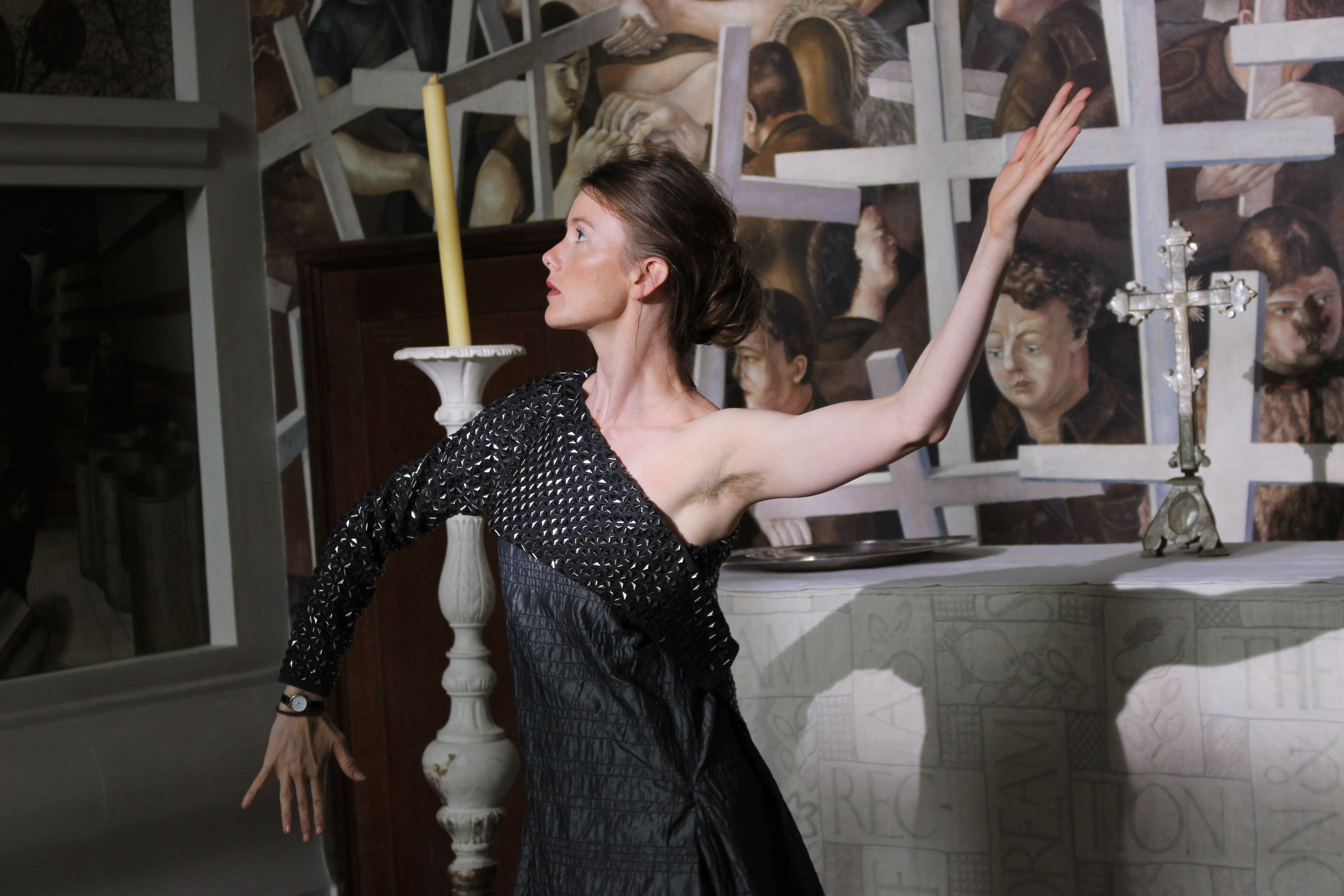 Sonya Cullingforth as Satan, dancing in the Spencer Memorial Chapel, 2018