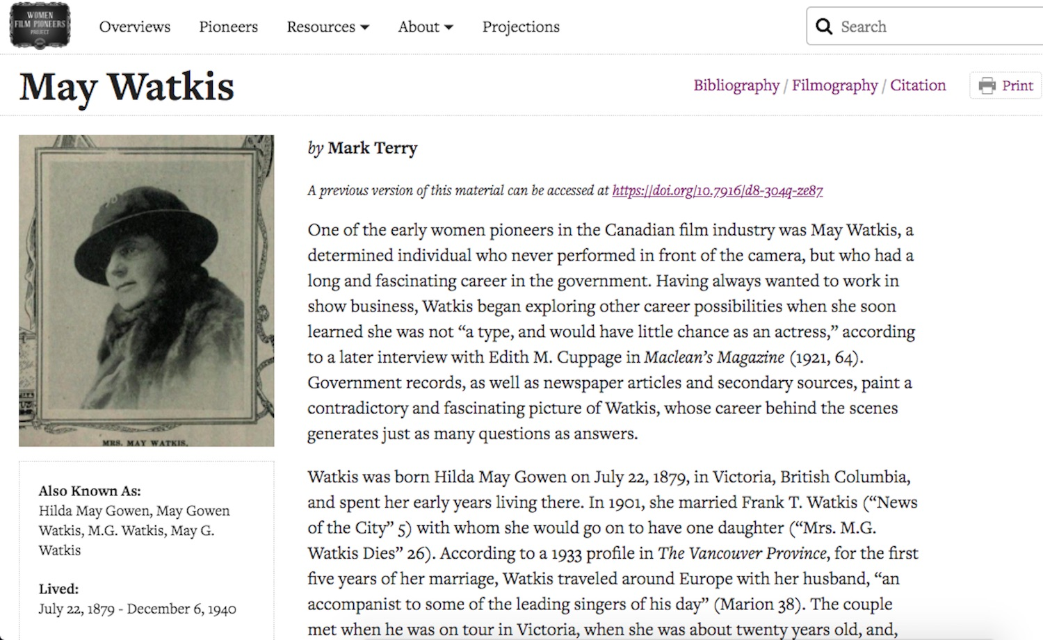 Screenshot of May Watkis's revised profile page on the Women Film Pioneers Project.