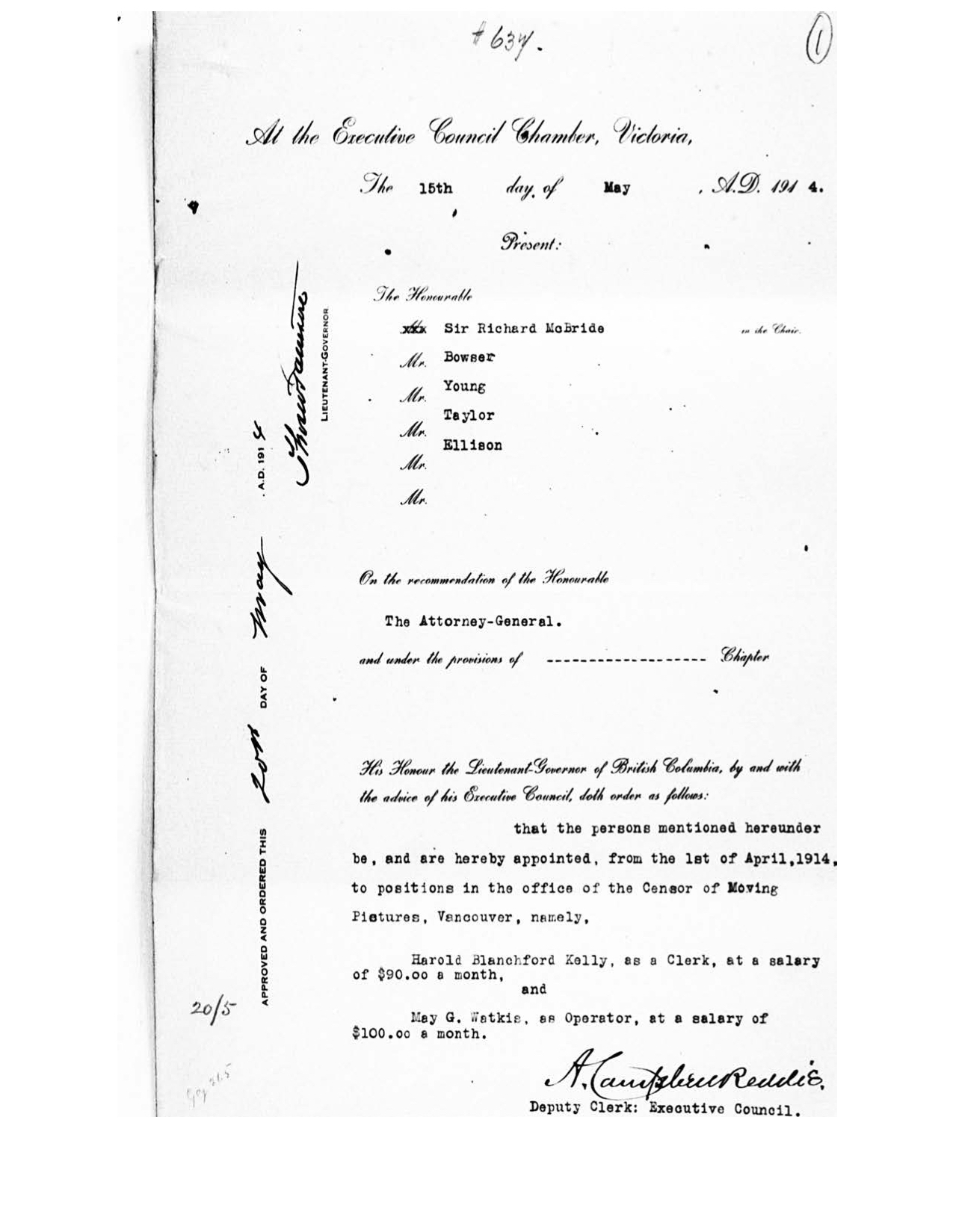 First page of the Order in Council appointing May Watkis to the position of projectionist (operator) in the office of the Censor of Moving Pictures