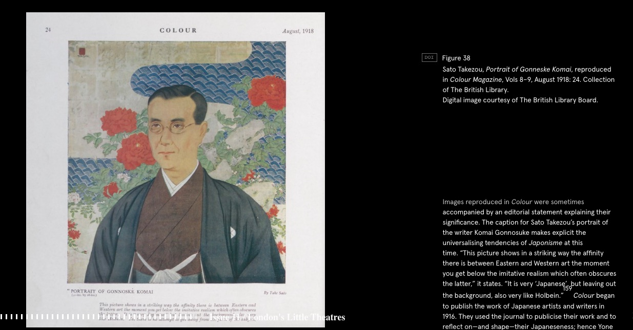 Screenshot from Theatres of War exhibition, featuring Sato Takezou's Portrait of Gonneske Komai