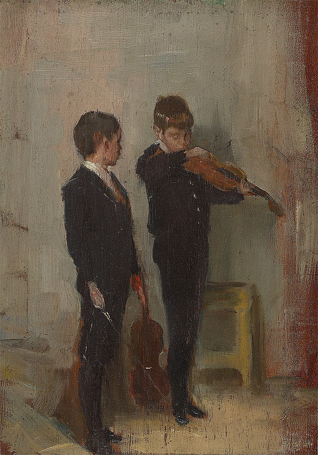 """Tom Roberts, """"The Violin Lesson,"""" 1889, painting of two boys playing violin"""