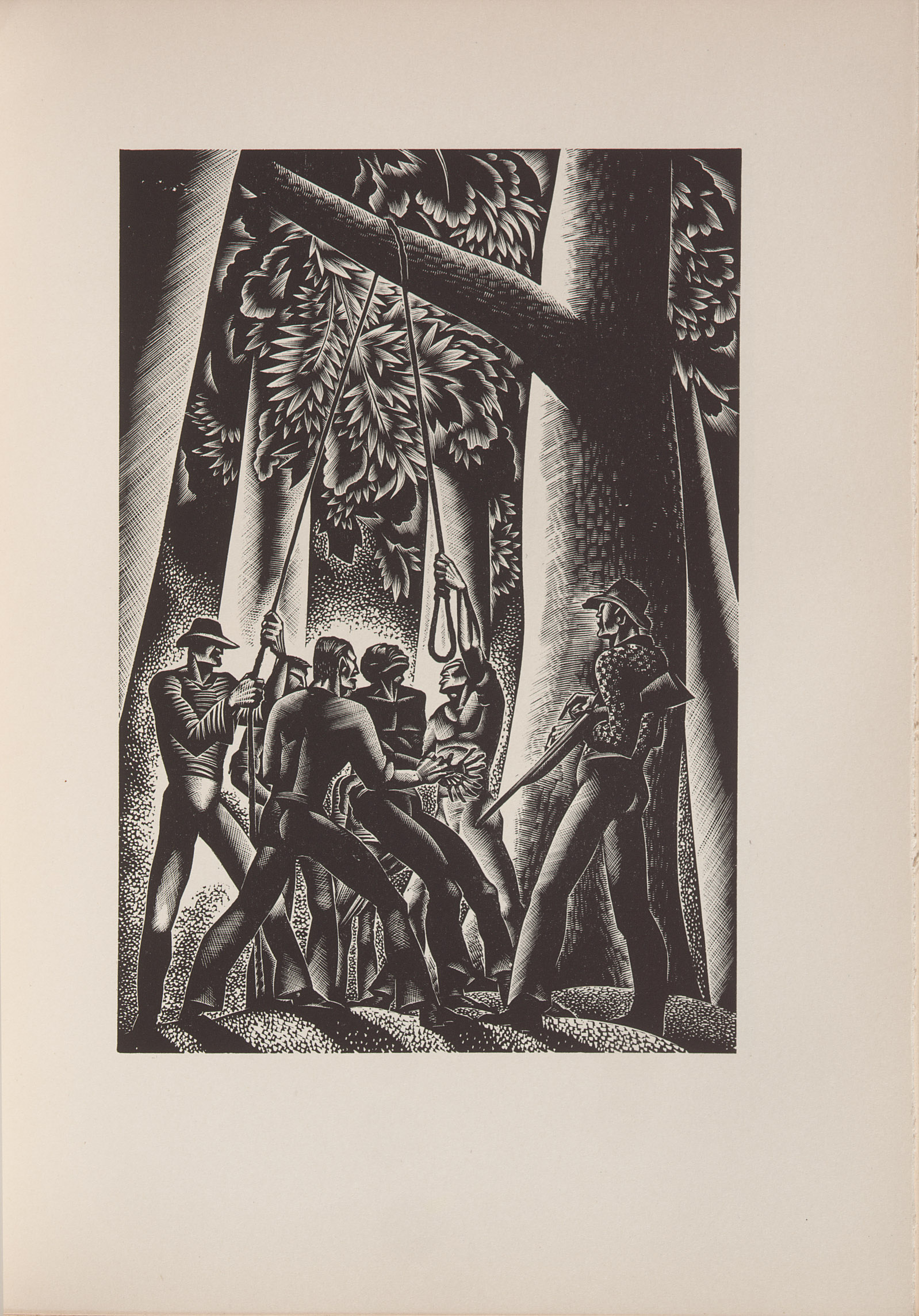 Lynd Ward, wood engraving from Wild Pilgrimage (1932) depicting a Black man about to be lynched by a group of white men.