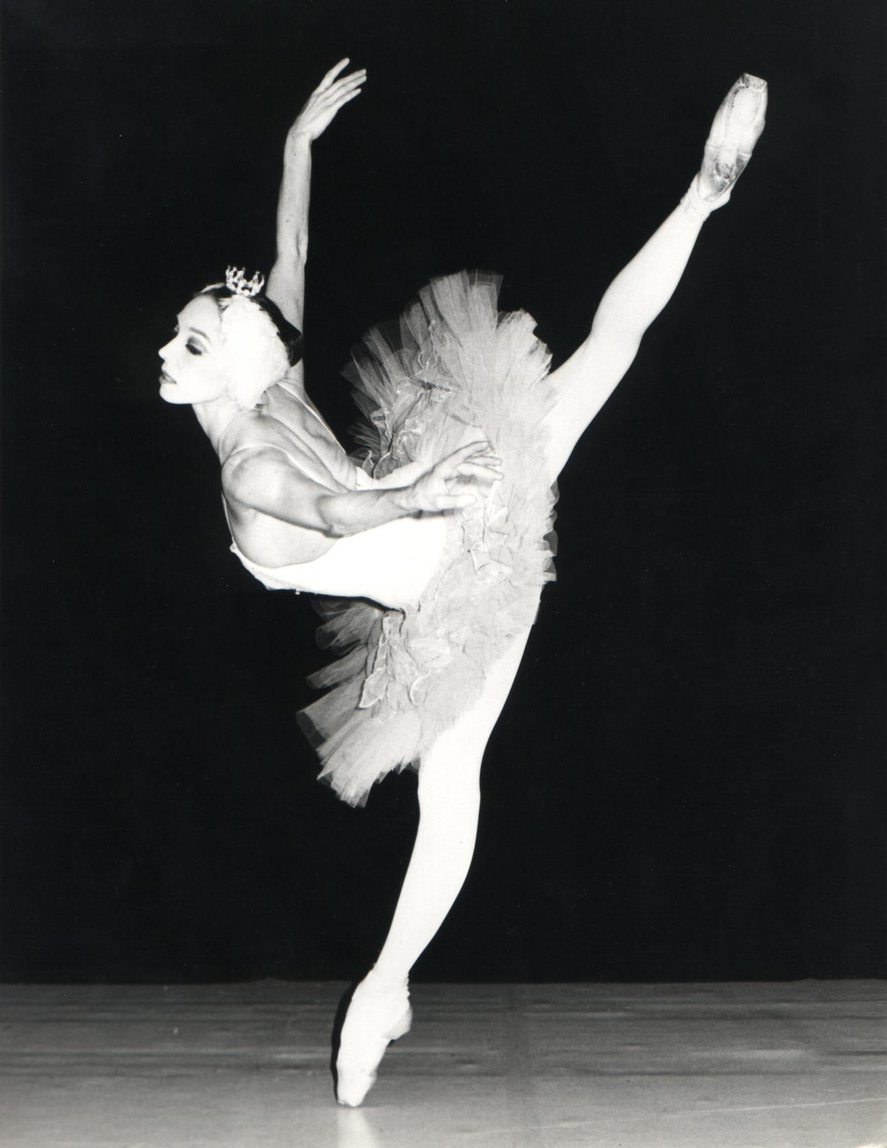 An attitude performed extremely high, indicative of the advancing athleticism in ballet in the second half of the twentieth century.