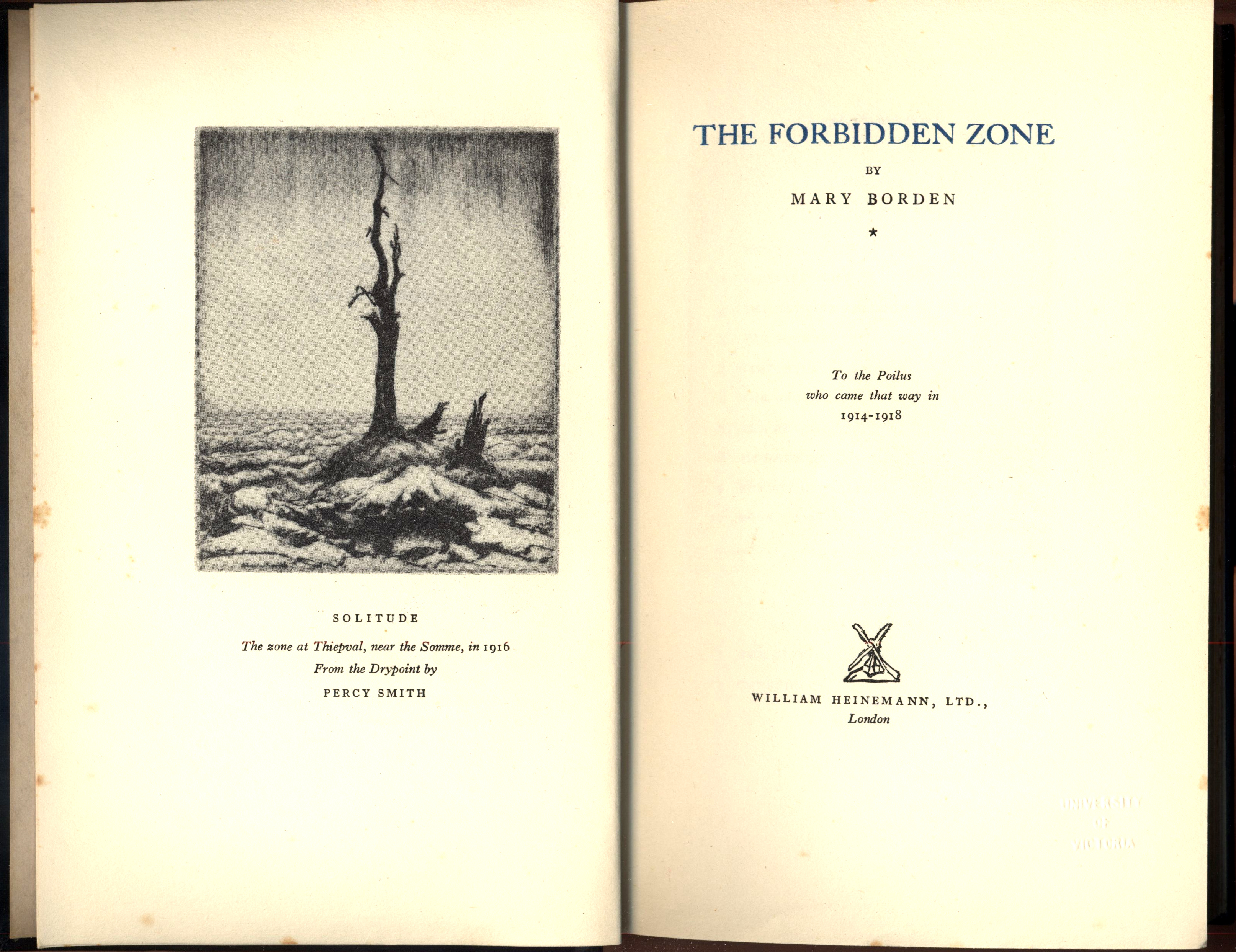 Title Page Of The Forbidden Zone, Courtesy Of Special Collections And  University Archives, The University Of Victoria, C J Fox Collection