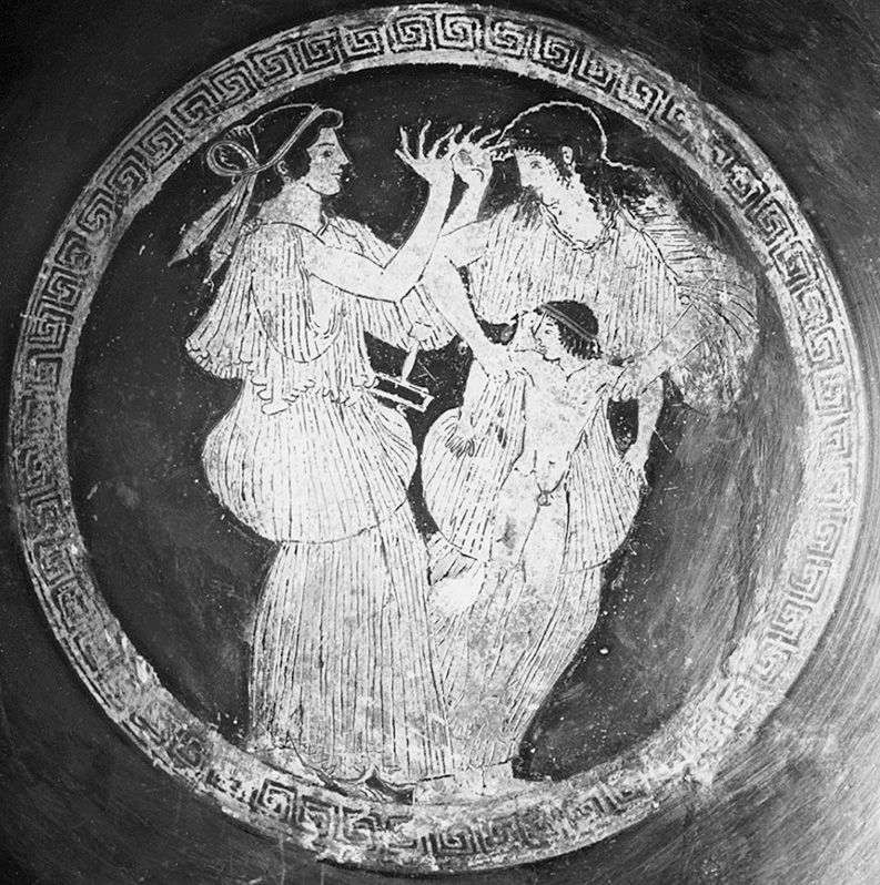 Image from an Attic wine cup, circa 490 BCE, depicting Philomela and Procne preparing to kill Itys. Courtesy Wikimedia Commons.