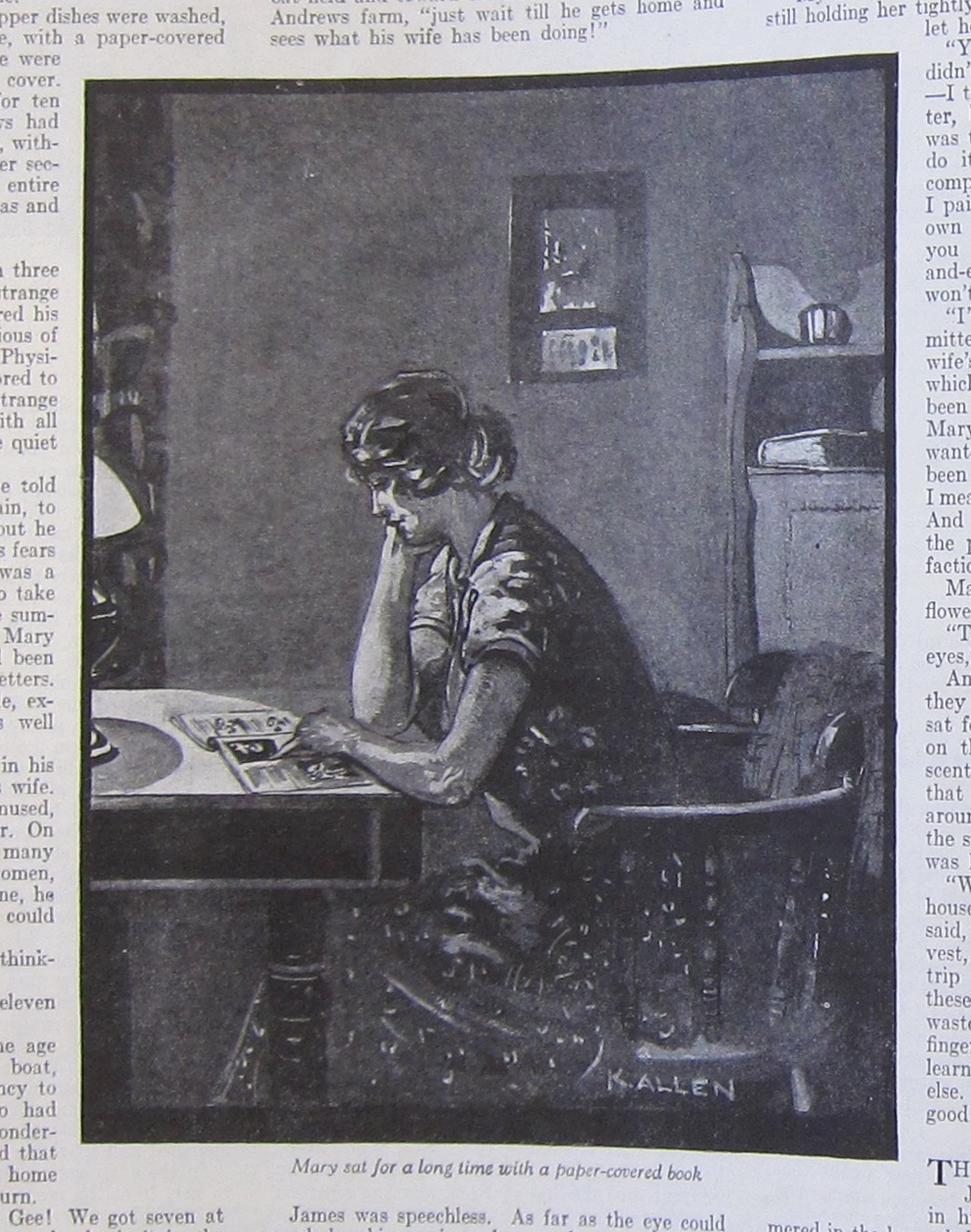 Illustration by Kathleen Allen shows three kinds of print in the domestic space: a calendar, a hardcover book, and a magazine. Western Home Monthly, October 1926, 18. Photo by the author from copy held in BAnQ, Montreal.