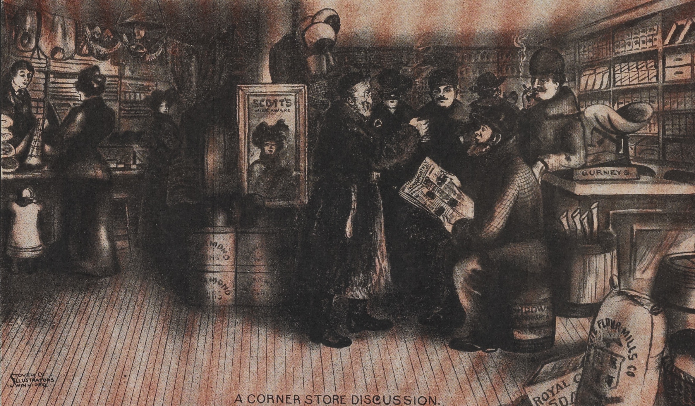 Cover detail by Stovel Illustrators, January 1904. Men hold a discussion with printed matter a focal point while ladies shop.