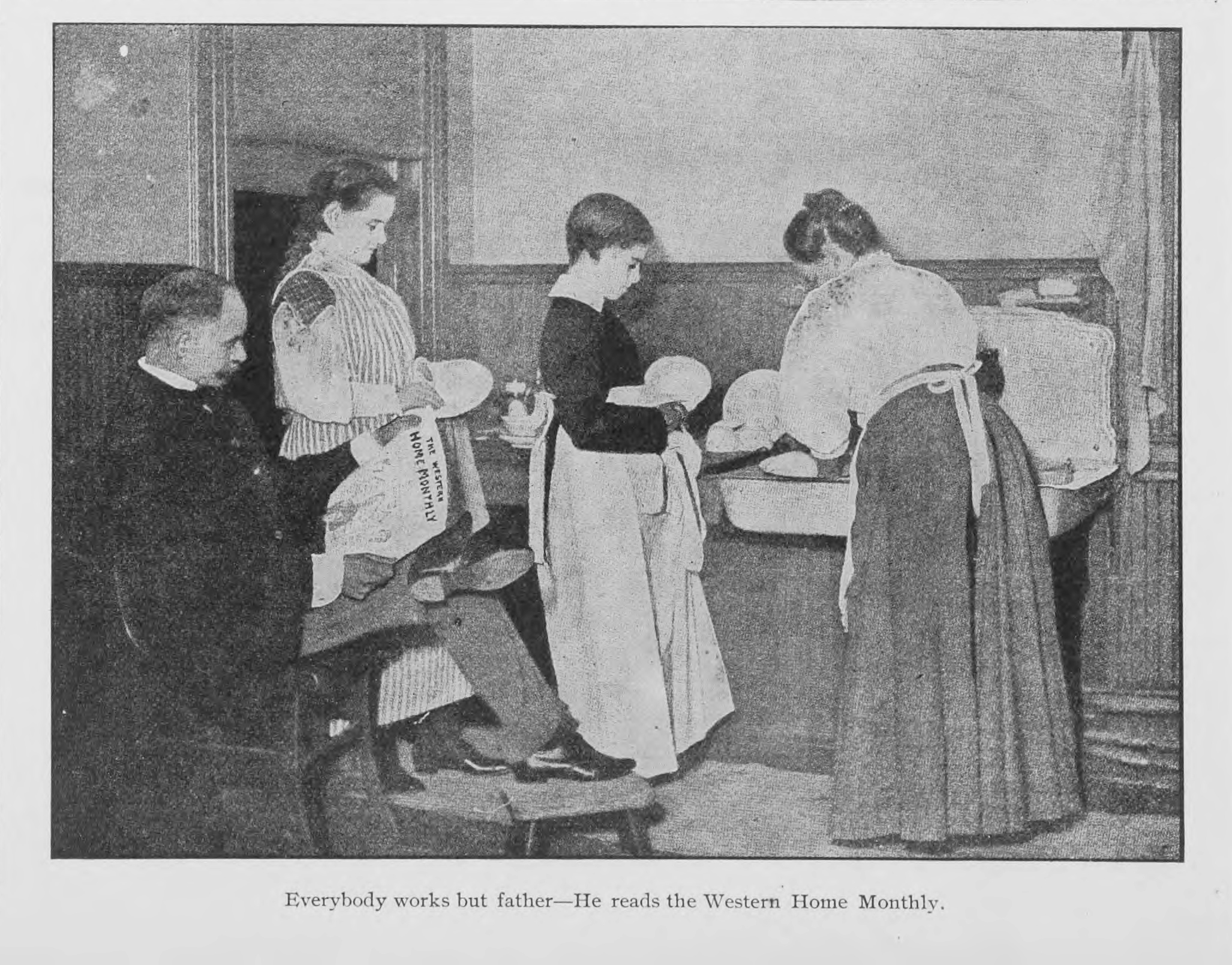 "Interior photograph, June 1906. ""Everybody works but Father—He reads Western Home Monthly."" Courtesy of Peel's Prairie Provinces (peel. library.ualberta.ca), a digital initiative of the University of Alberta Libraries."