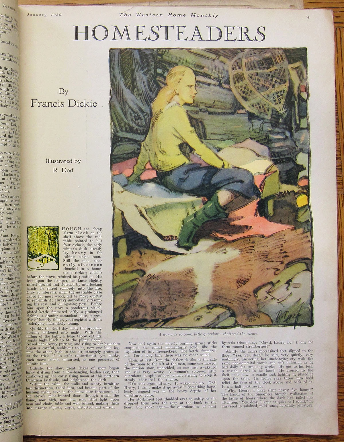 "The first full colour interior fiction illustration by Robert Dorf for ""Homesteaders,"" by Francis Dickie. Western Home Monthly, January 1930, 9. Photo by the author from copy held in BAnQ, Montreal."