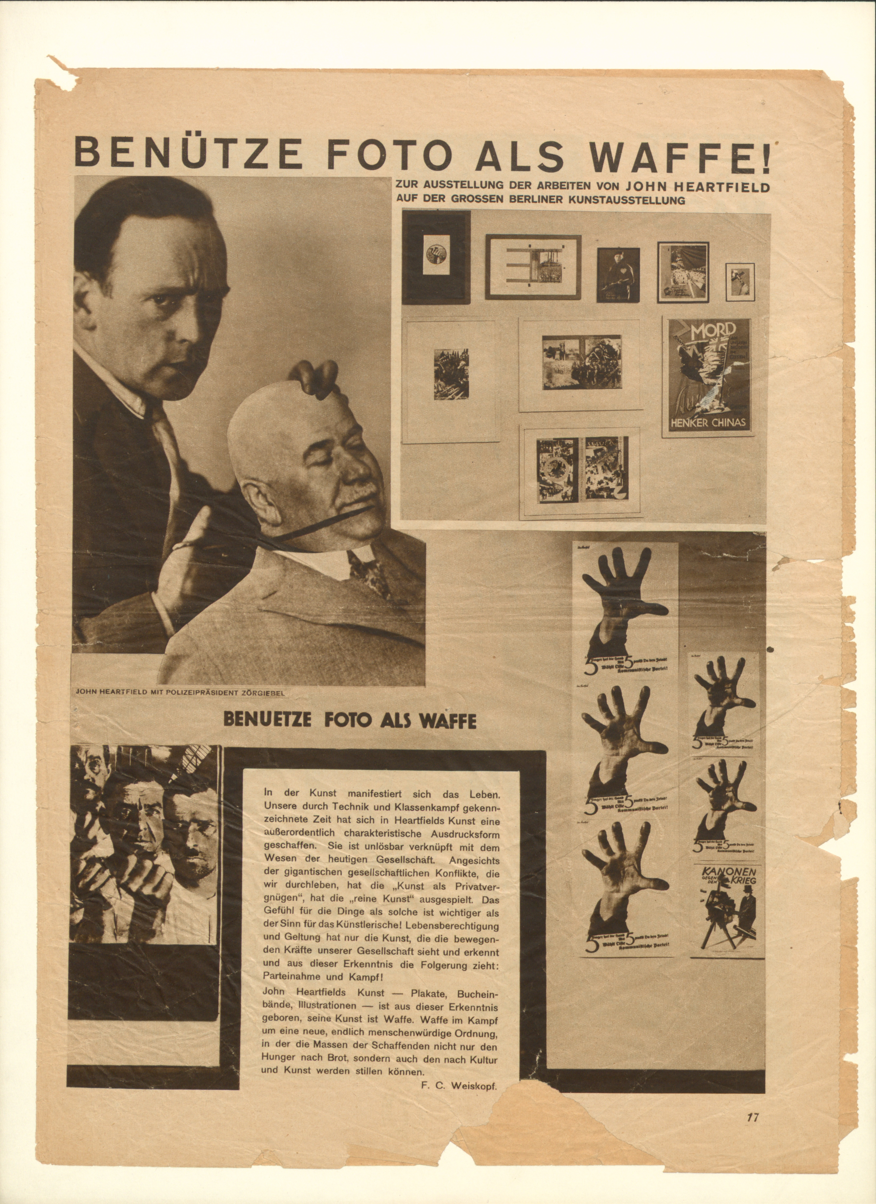 John Heartfield's exhibit Benütze Foto als Waffe! (Use Photography as a Weapon!), in the Film und Foto exhibition in Stuttgart, May 18–July 7, 1929.