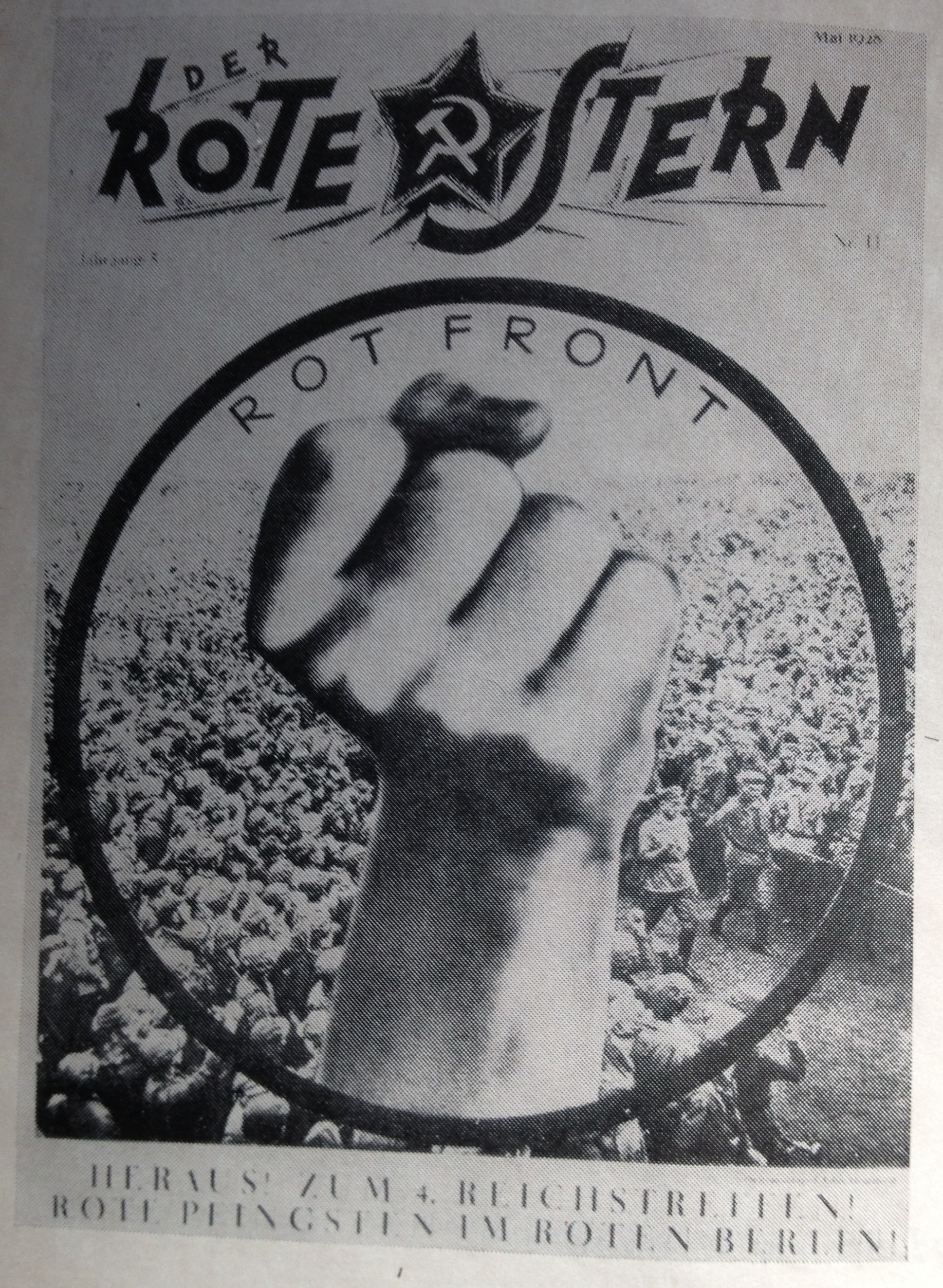 John Heartfield, Rotfront logo, cover of Der rote Stern 11 (1928).