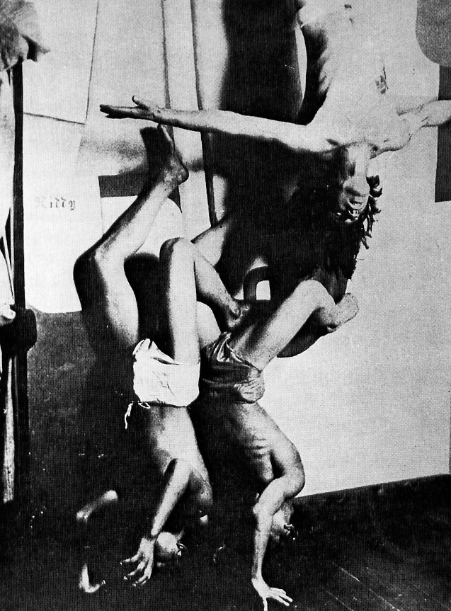 A dance by Mavo, a multidisciplinary Japanese avant-garde group and one of the chief representatives of Japanese modernism.