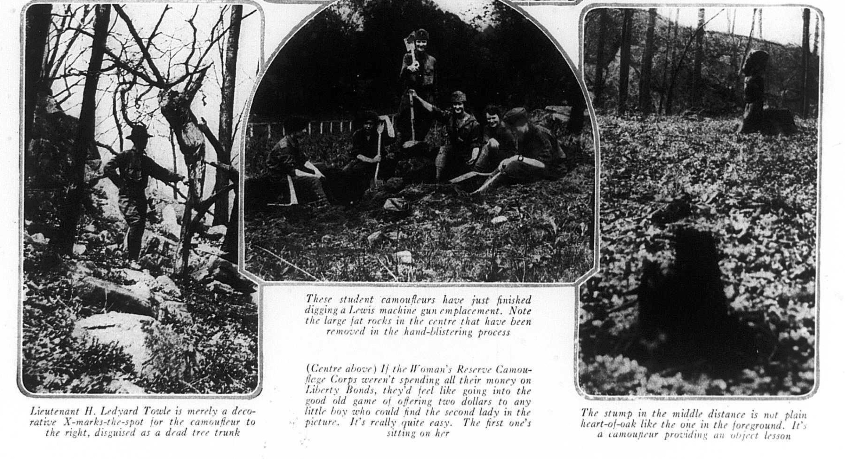 "Lieutenant H. Ledyard Towle and the Camouflage Corps, ""Hide and Go-Seek-a-Hun,"" Vogue, July 1918, 58."