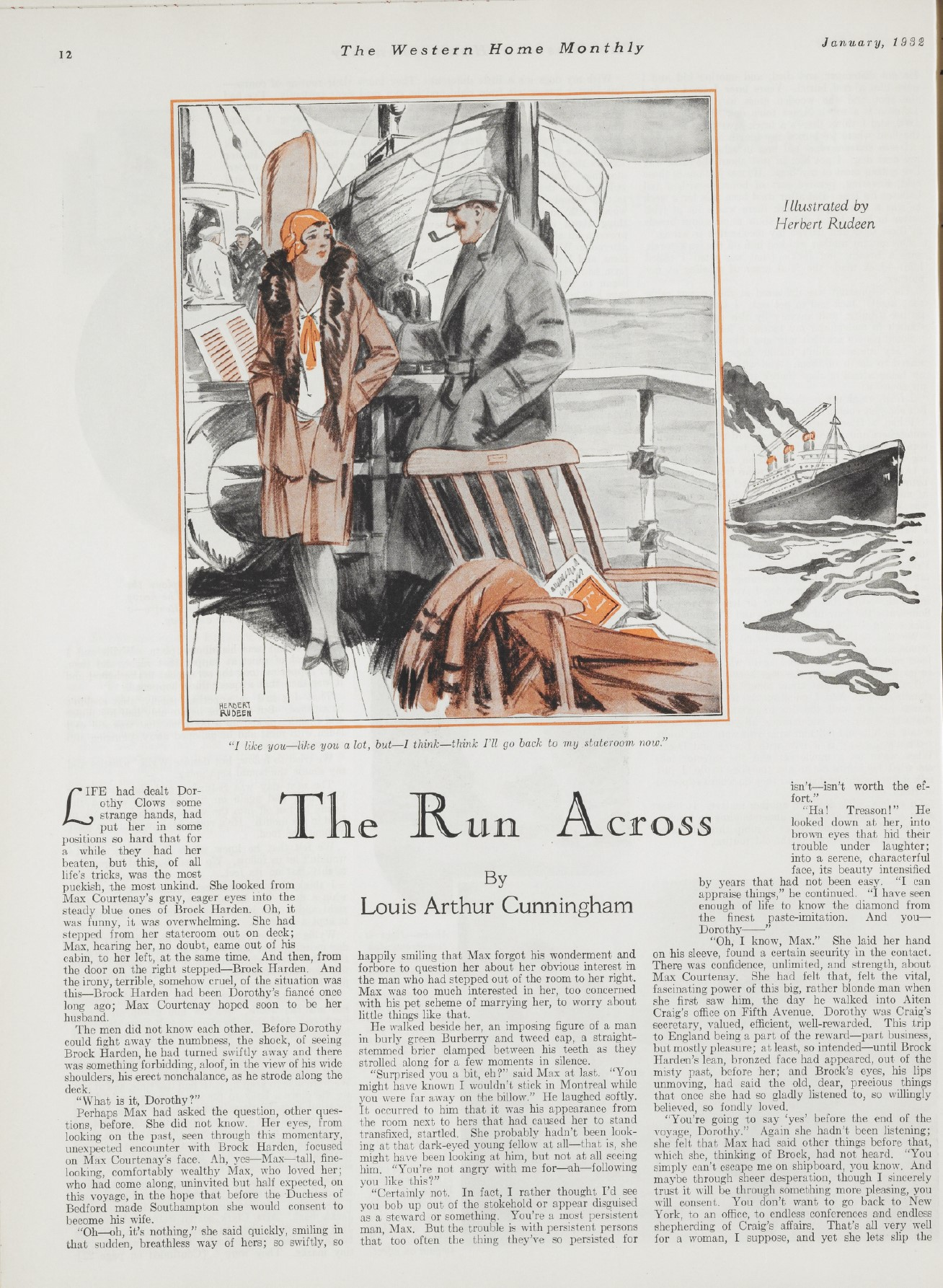 "The Modern Girl Illustrated by Herbert Rudeen, for ""The Run Across,"" by Louis Arthur Cunningham, Western Home Monthly, January 1932, 12."
