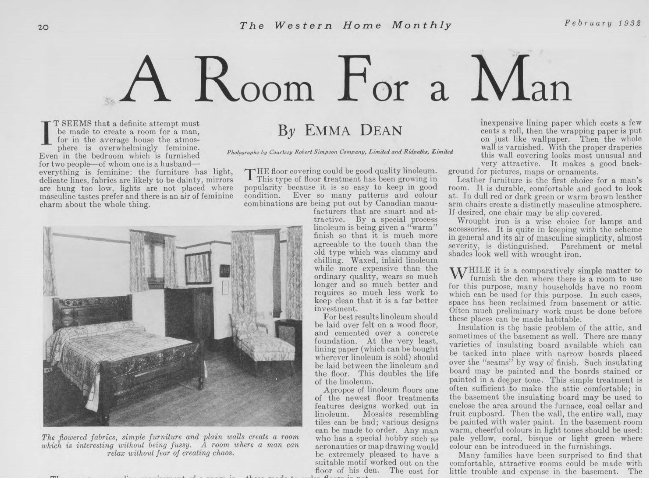 "Home decoration advice: make ""A Room for a Man,"" Western Home Monthly, February 1932, 20."