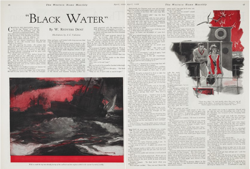 "Title illustration and accompanying page illustration for ""Black Water,"" an adventure tale by W. Redvers Dent (Canadian writer Raymond Knister). Set in the Great Lakes, it centers on fast action as a sinking tanker en route from Thunder Bay."
